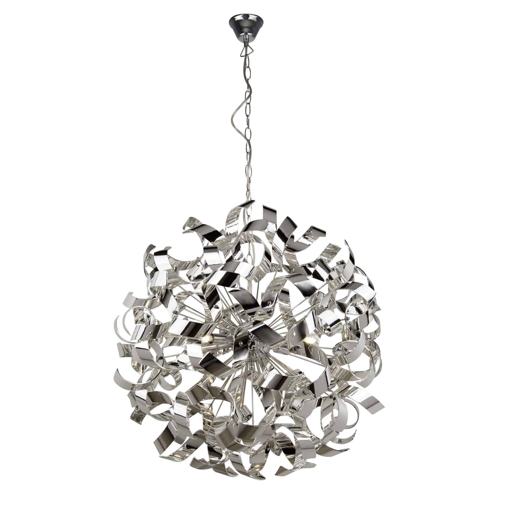 5686-6CC – Searchlight Curls Polished Chrome 6 Light Pendant