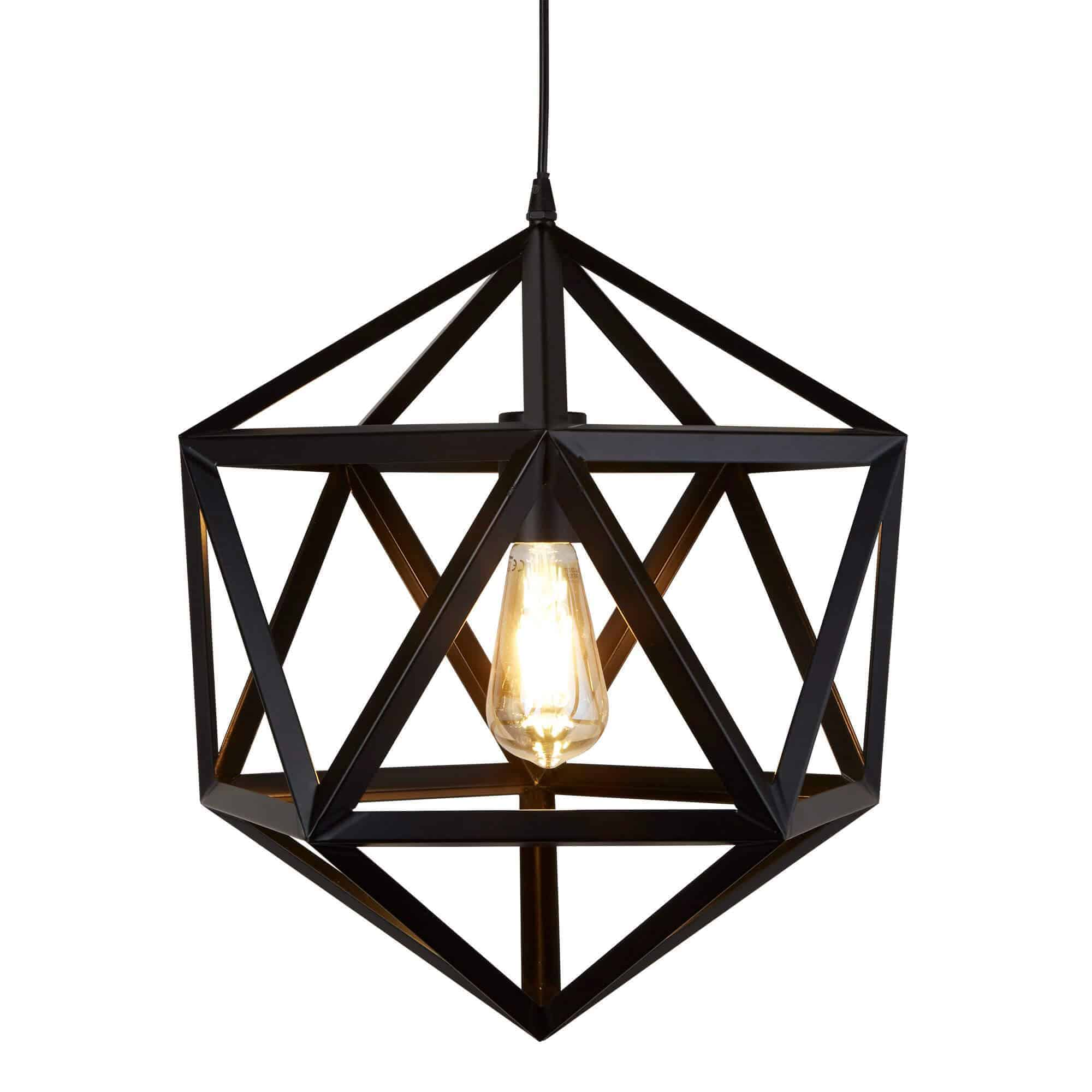 5701BK – Searchlight Cube Matt Black 1 Light Geometric Pendant