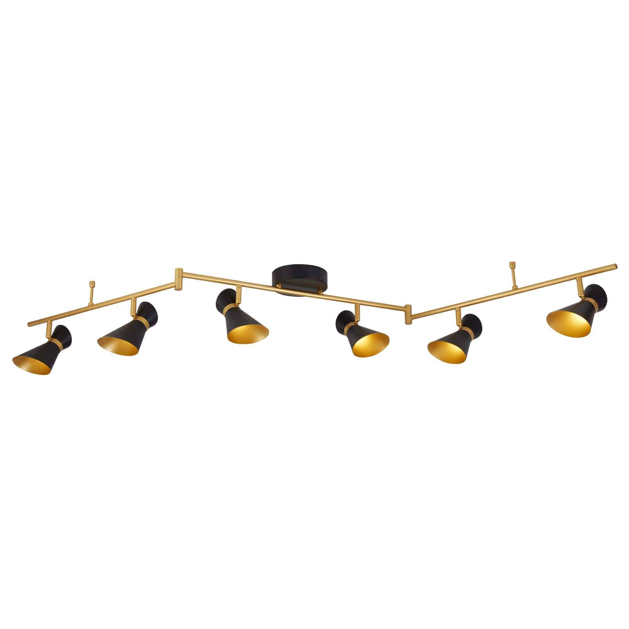 5926BG – Searchlight Diablo Black & Gold 6 Light LED Spotlight Bar