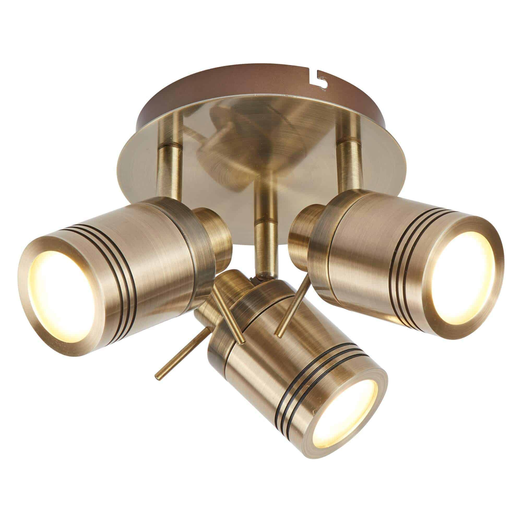 6603AB – Searchlight Samson Antique Brass 3 Light IP44 Bathroom Spot Plate