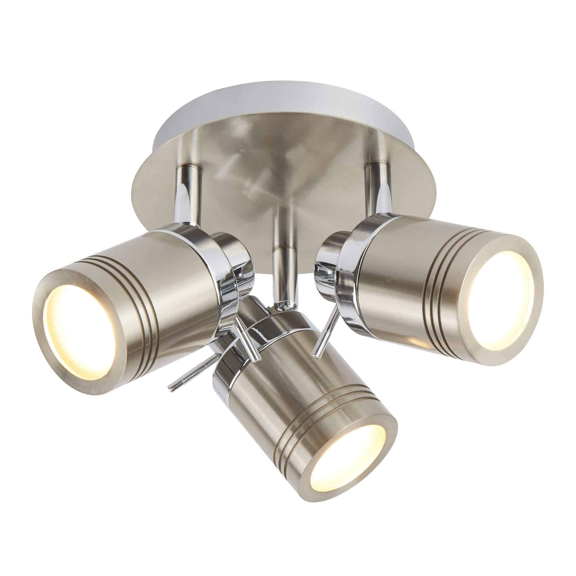 6603SS – Searchlight Samson Satin Silver 3 Light IP44 Bathroom Spot Plate