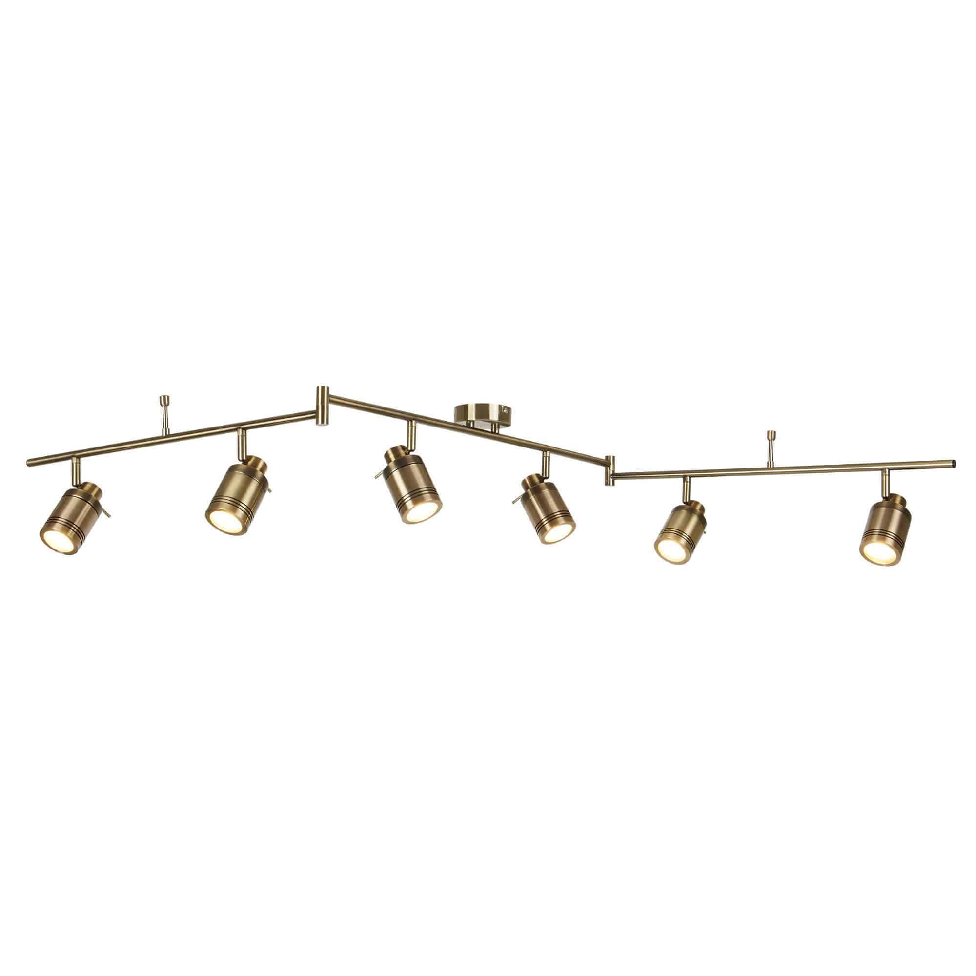 6606AB – Searchlight Samson Antique Brass 6 Light IP44 Bathroom Spot SplitBar