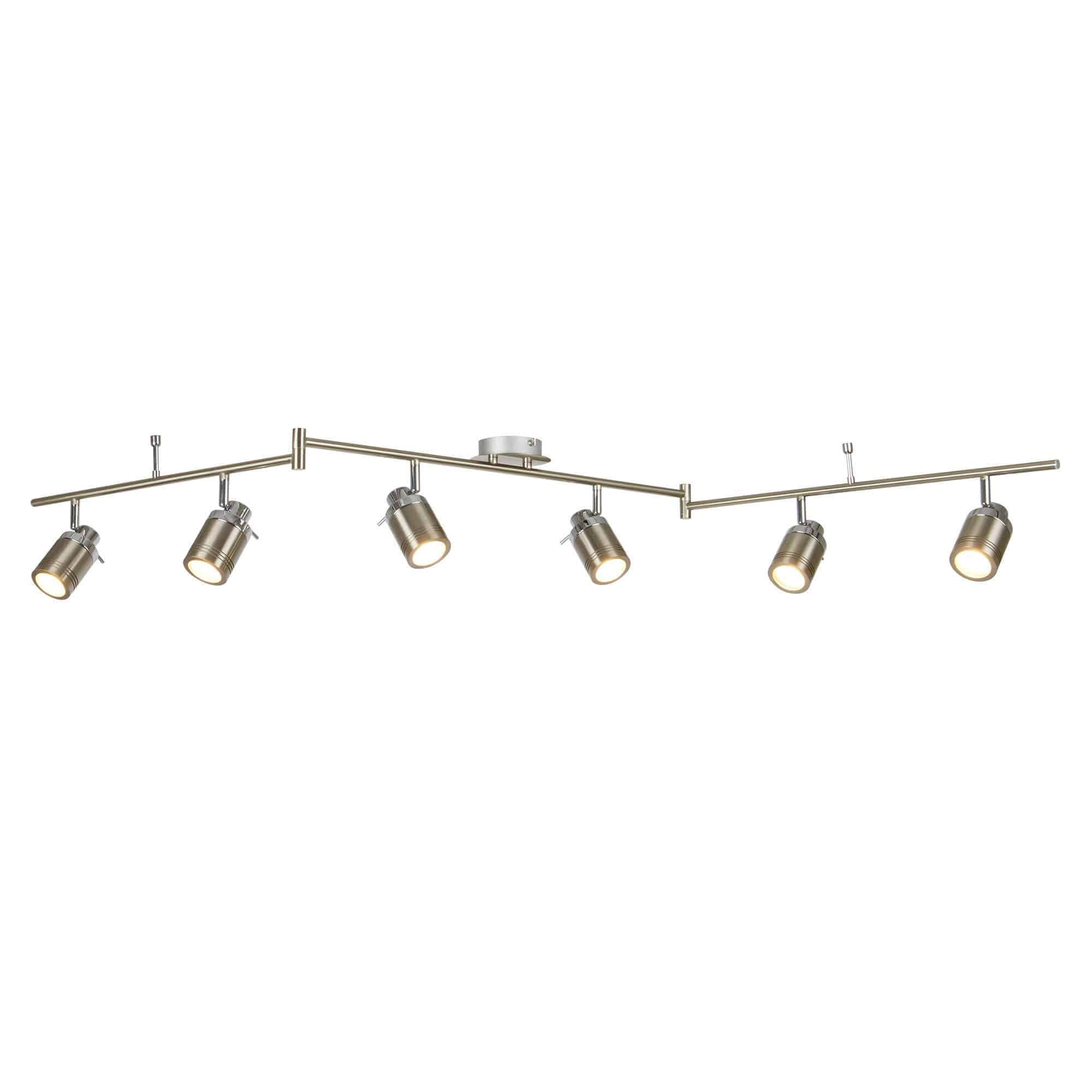 6606SS – Searchlight Samson Satin Silver 6 Light IP44 Bathroom Spot SplitBar