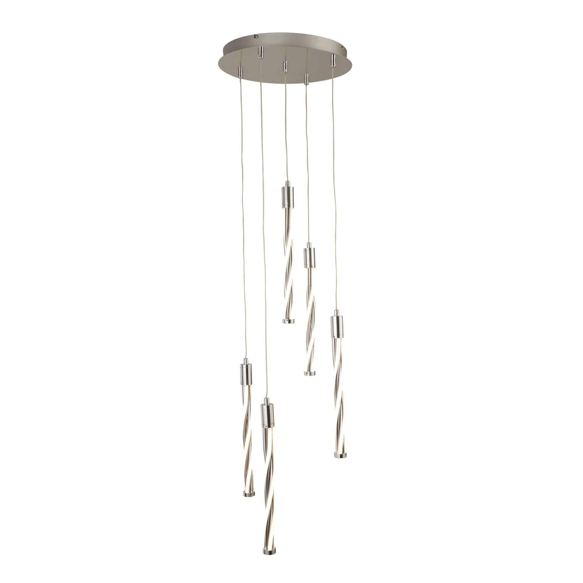 7105-5CC – Searchlight Twister Polished Chrome 5 Light LED MultiDrop Pendant