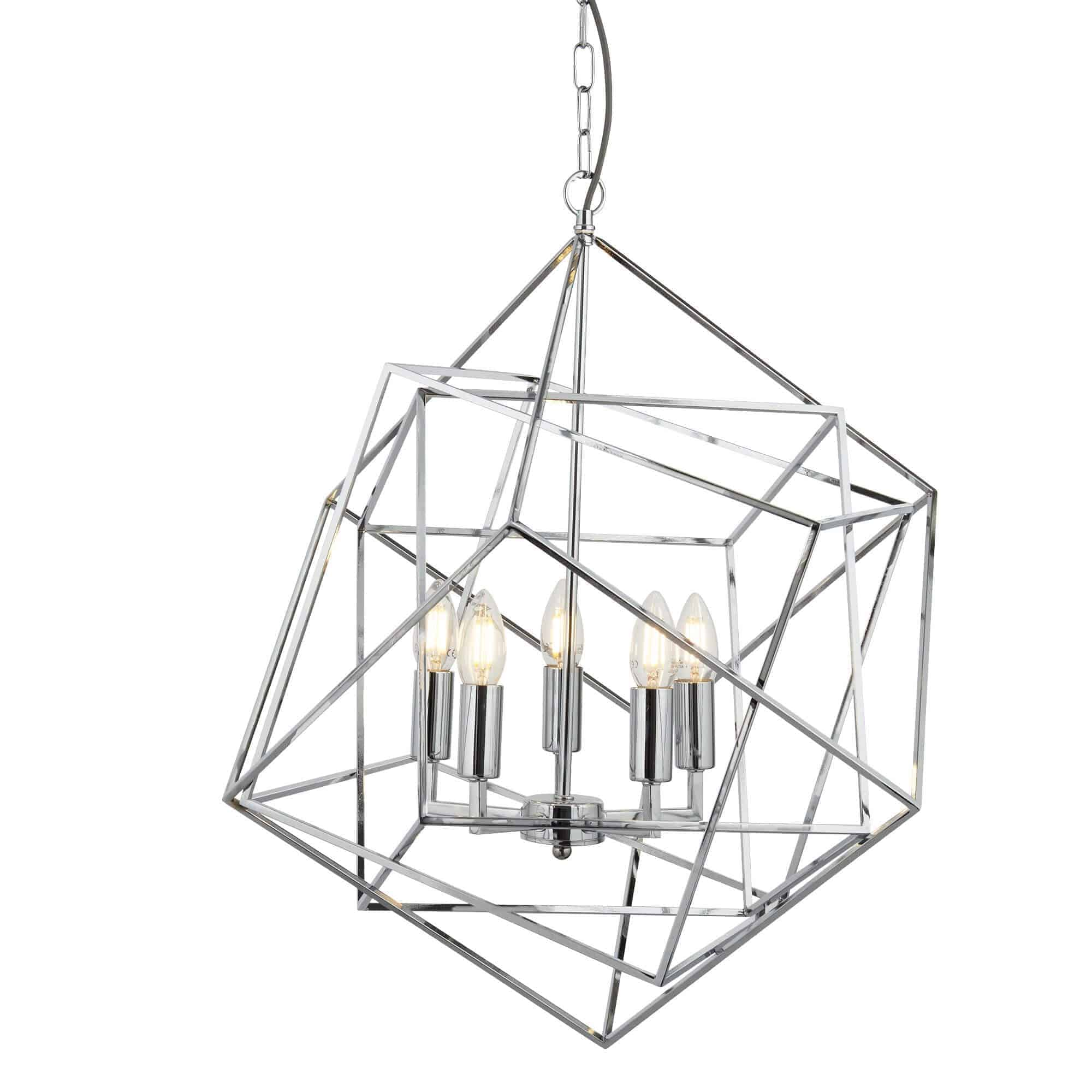 7865-5CC – Searchlight Cube Polished Chrome 5 Light Pendant