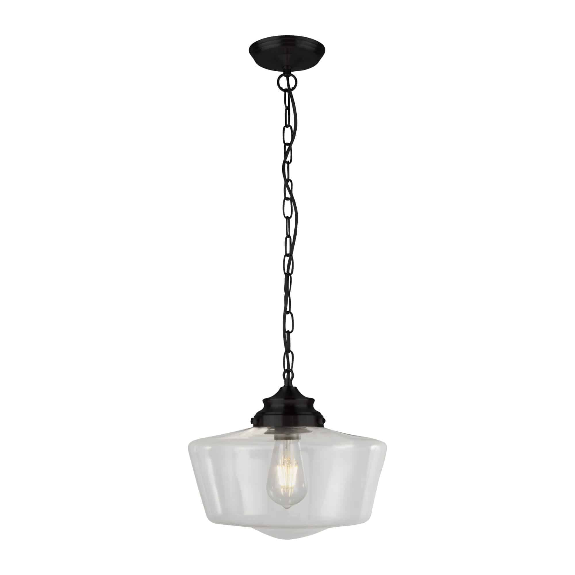 8071-1BK – Searchlight School House Black Pendant With Clear Glass