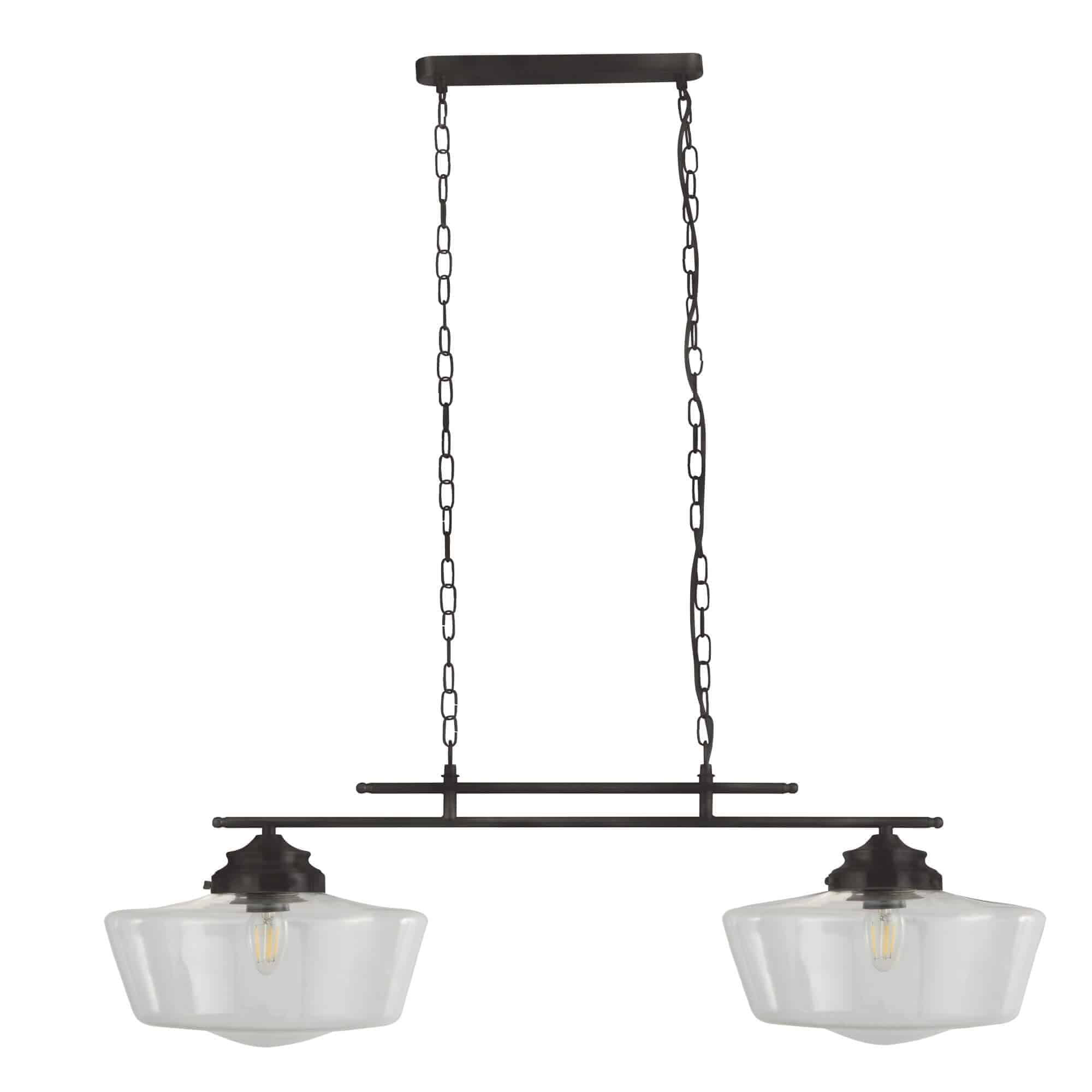 8078-2BK – Searchlight School House Black  2 Light Pendant With Glear Glass