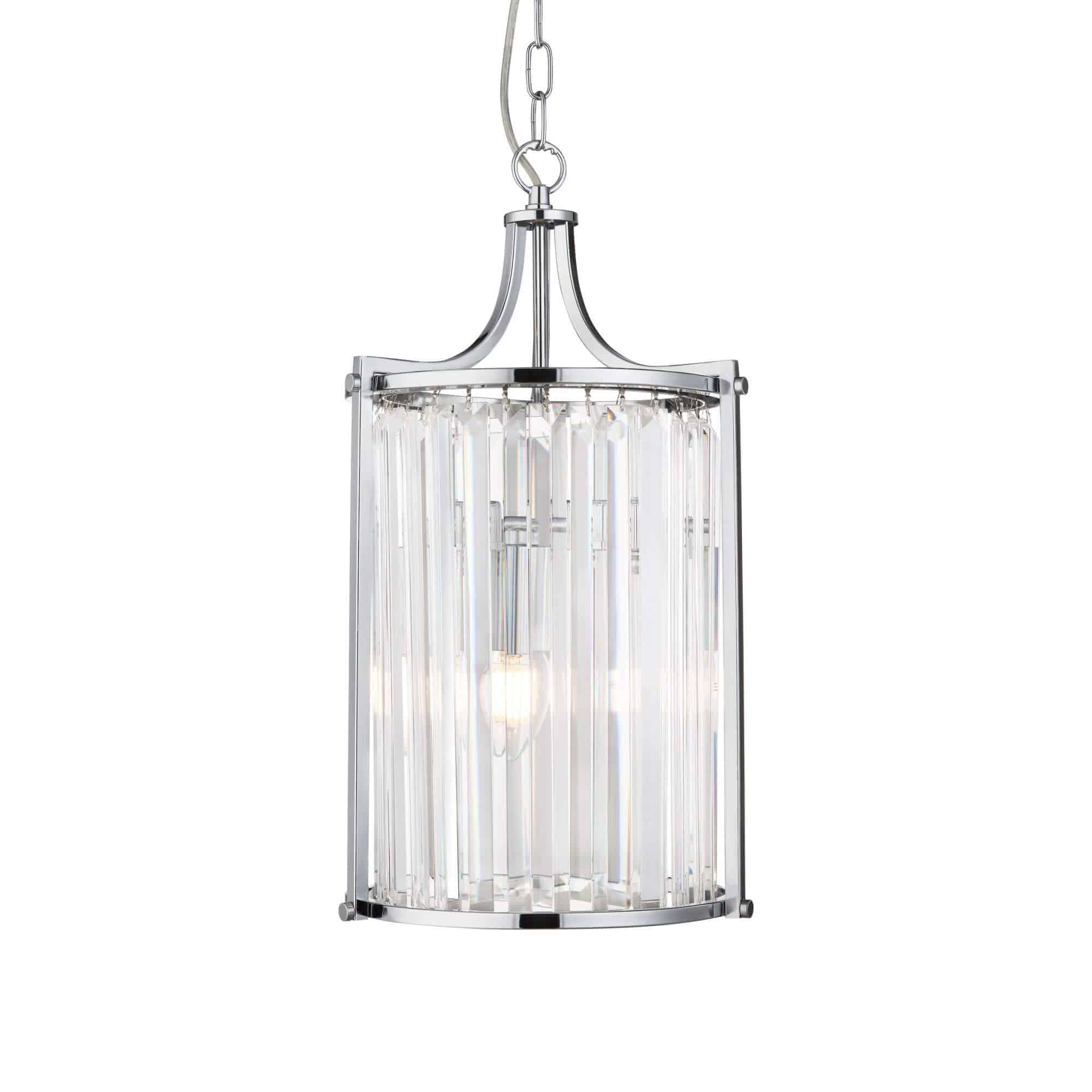 8092-2CC – Searchlight Victoria 2 Light Pendant Polished Chrome With Crystal Glass