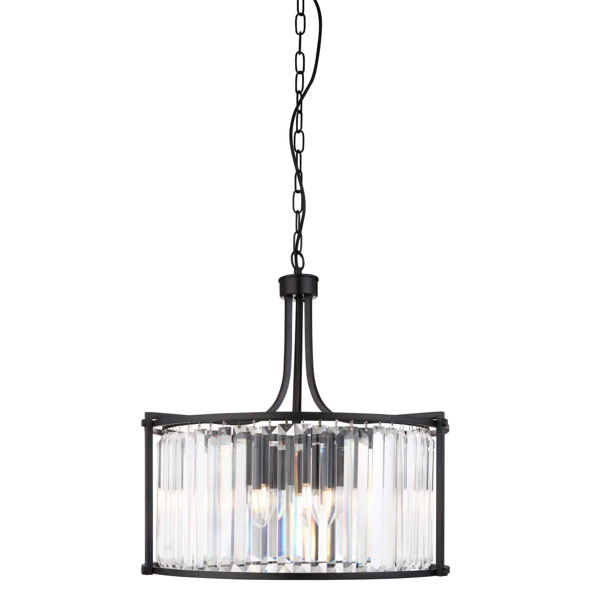 8295-5BK – Searchlight Victoria Matt Black 5 Light Drum Pendant