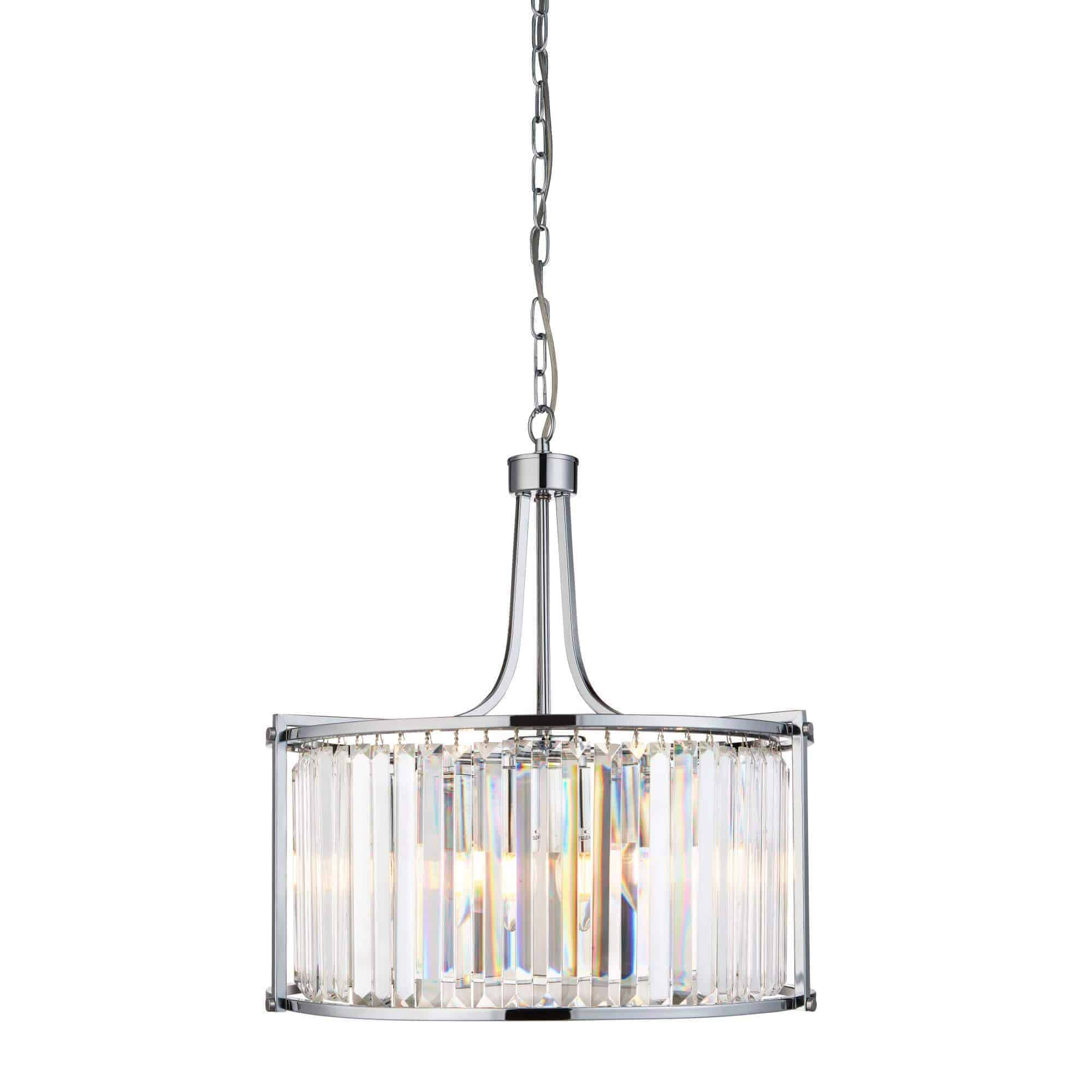 8295-5CC – Searchlight Victoria Polished Chrome 5 Light Drum Pendant
