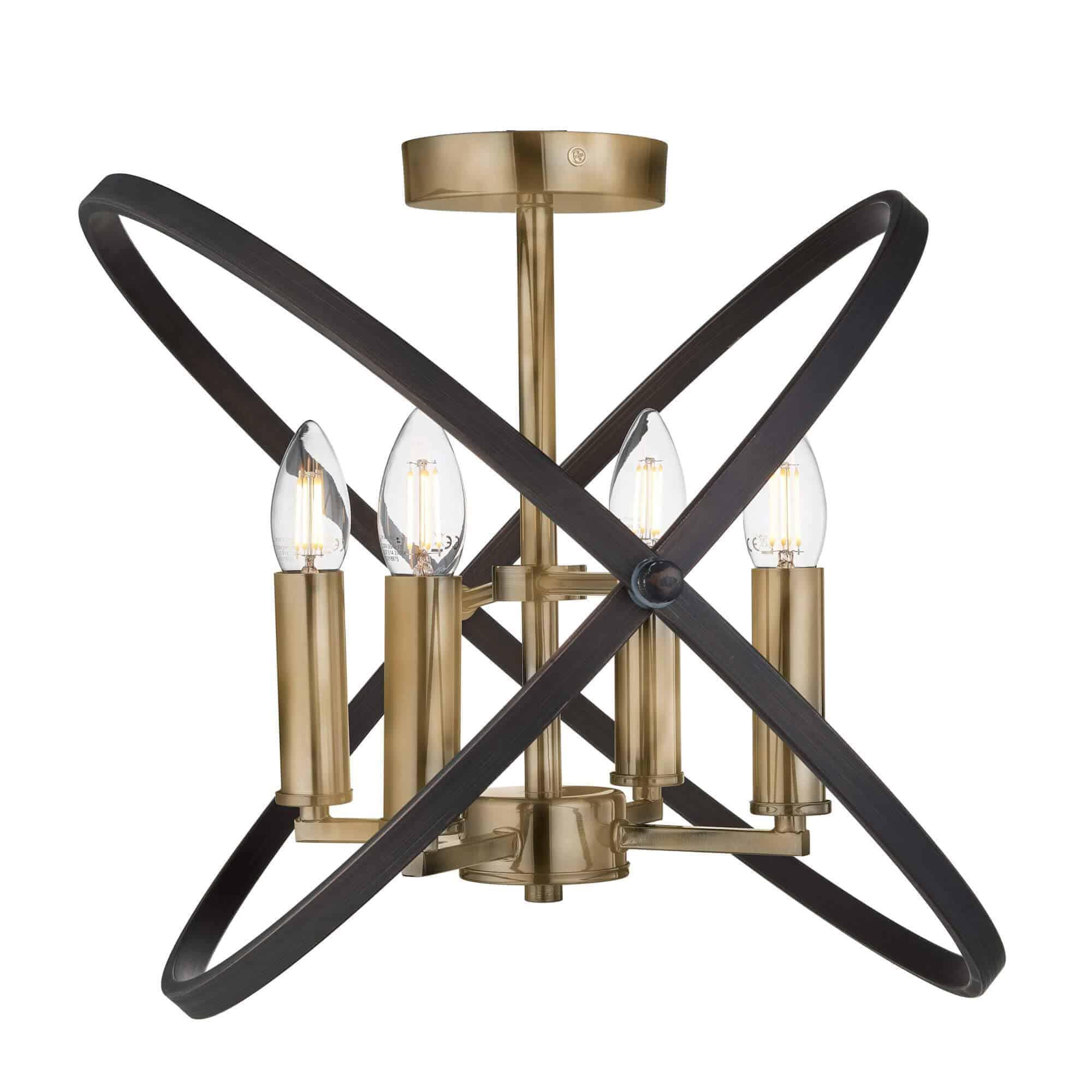 8344-4BZ – Searchlight Hoopla Bronze 4 Light Semi Flush