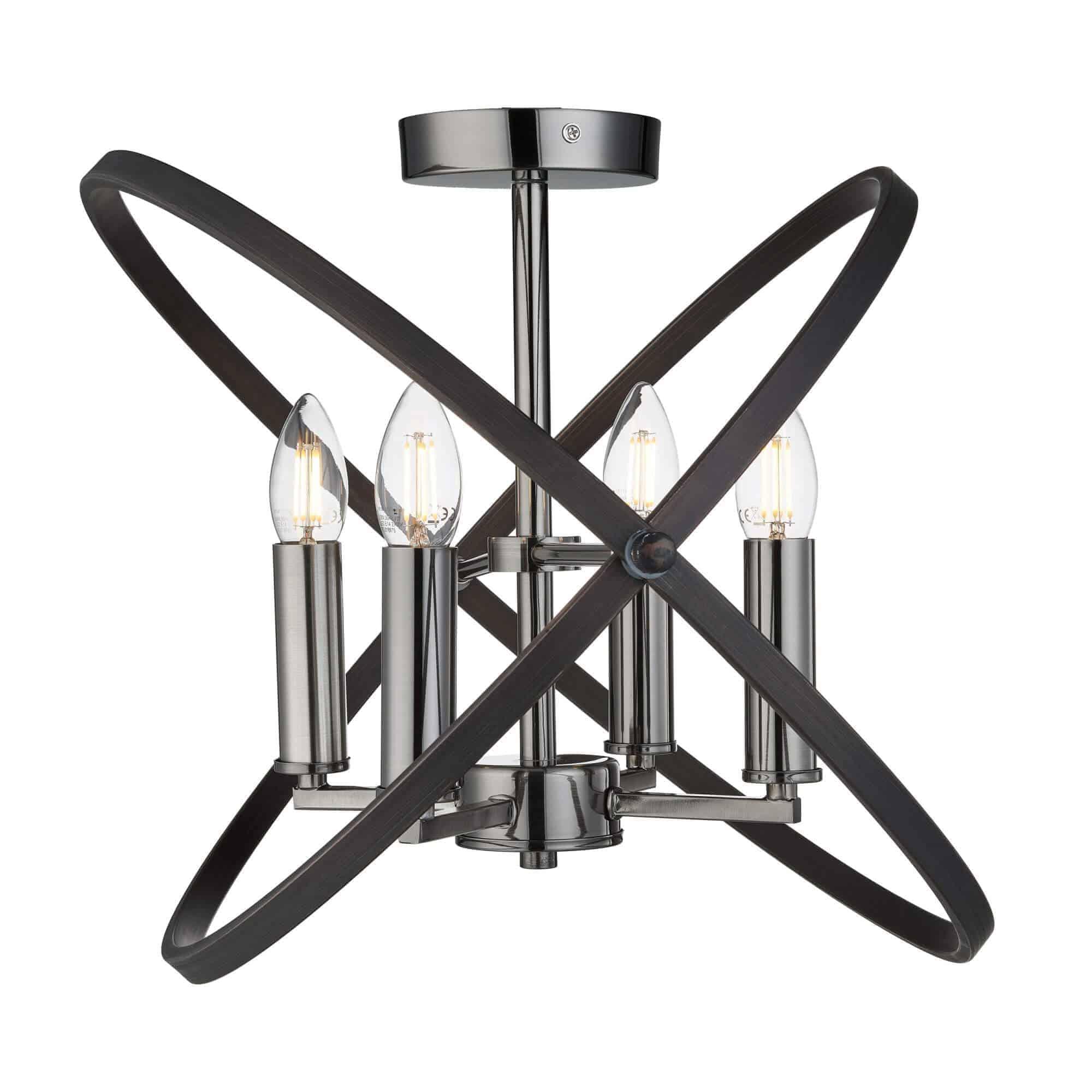 8344-4PW – Searchlight Hoopla Pewter 4 Light Semi Flush