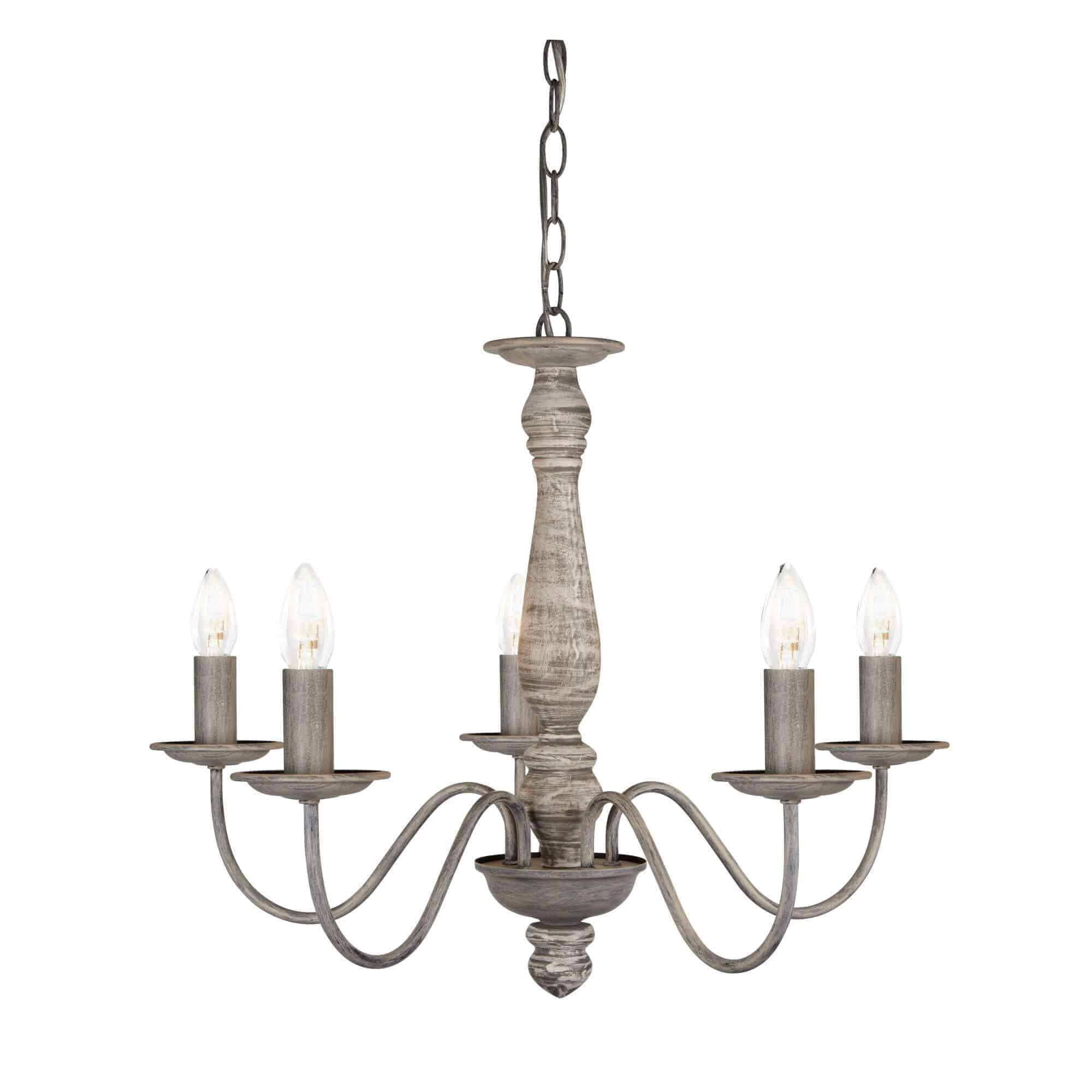 9235-5GY – Searchlight Sycamore Grey 5 Light Ceiling