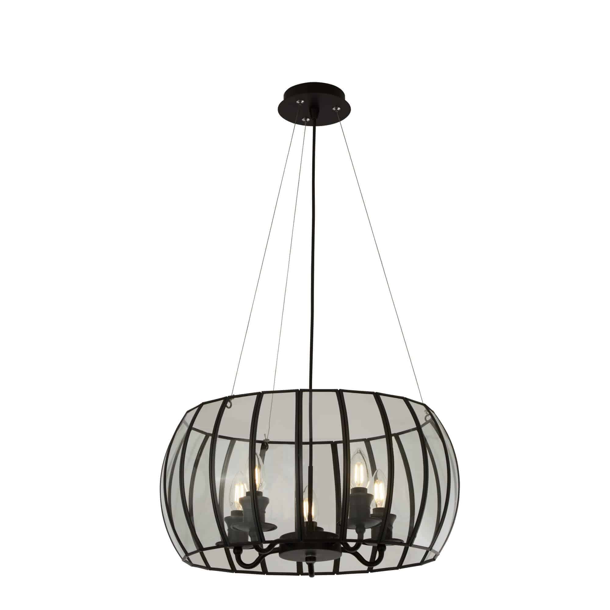 9515-5BK – Searchlight Pendant 5 Light Bound Glass Black/Clear