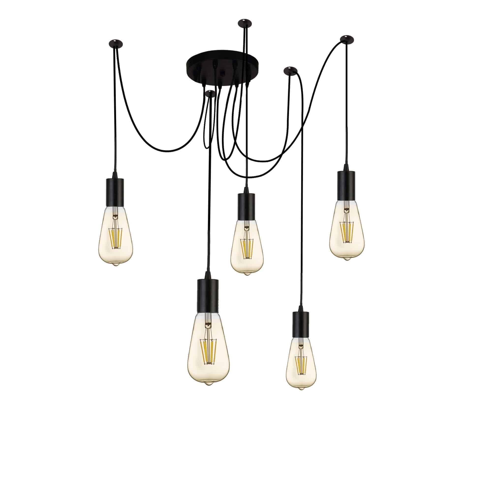 9665-5BK – Searchlight Squiggle 5 Light Pendant Black
