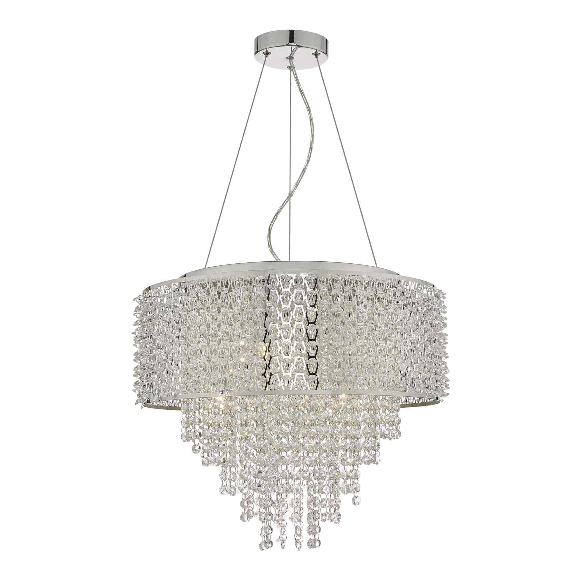 Dar ACE0650 Acelynn 6 Light Pendant Polished Chrome & Crystal