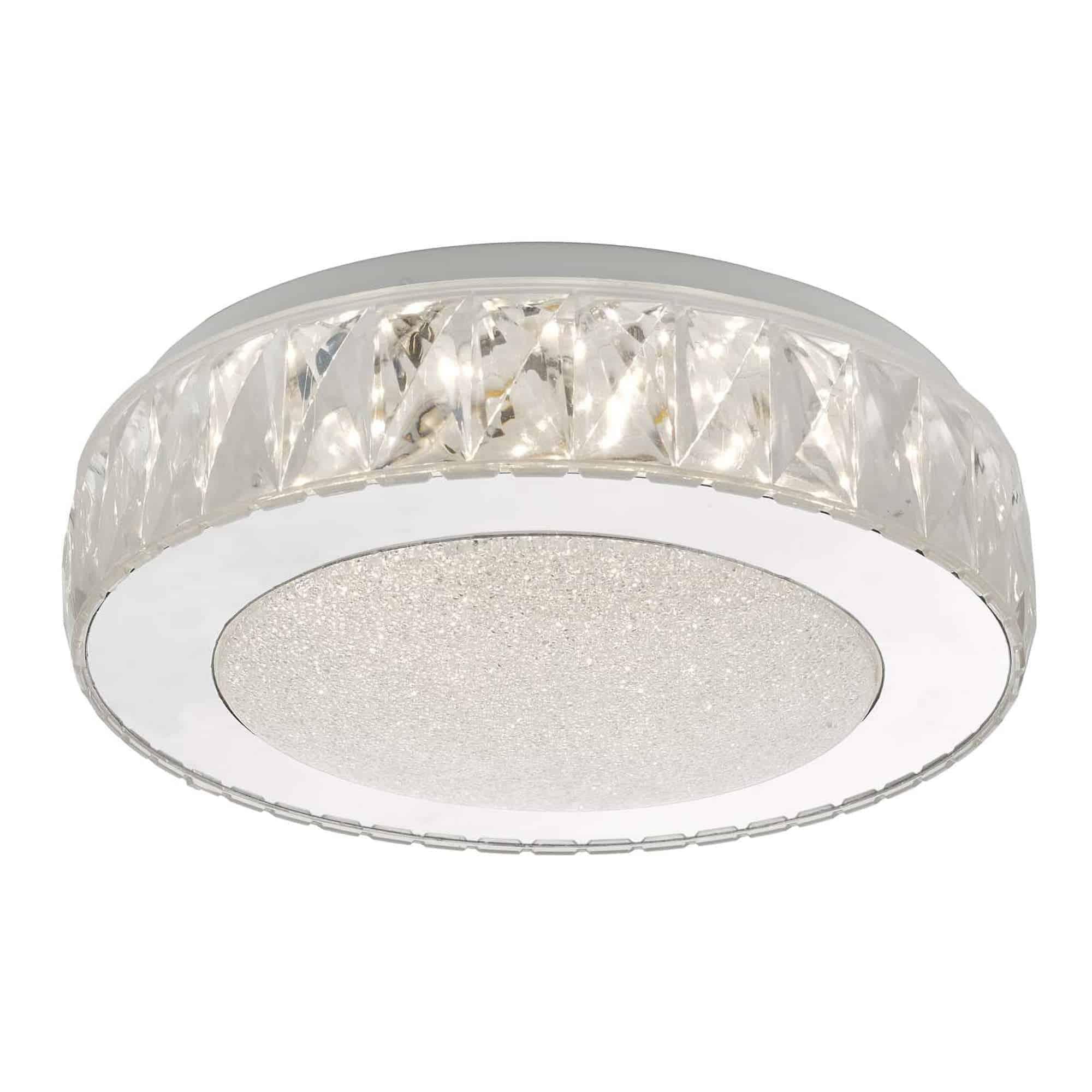 Dar AKE5208 Akelia Flush Acrylic & Stainless Steel Small LED