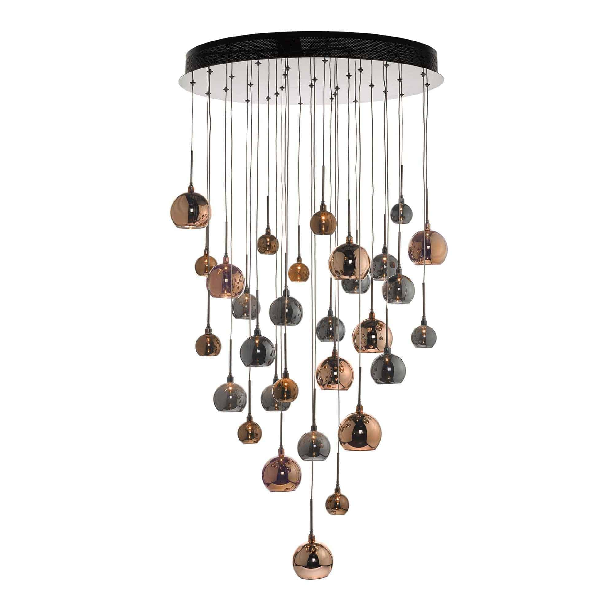 Dar AUR3364 Aurelia 30 Light Cluster Pendant In Copper & Bronze 3M Drop