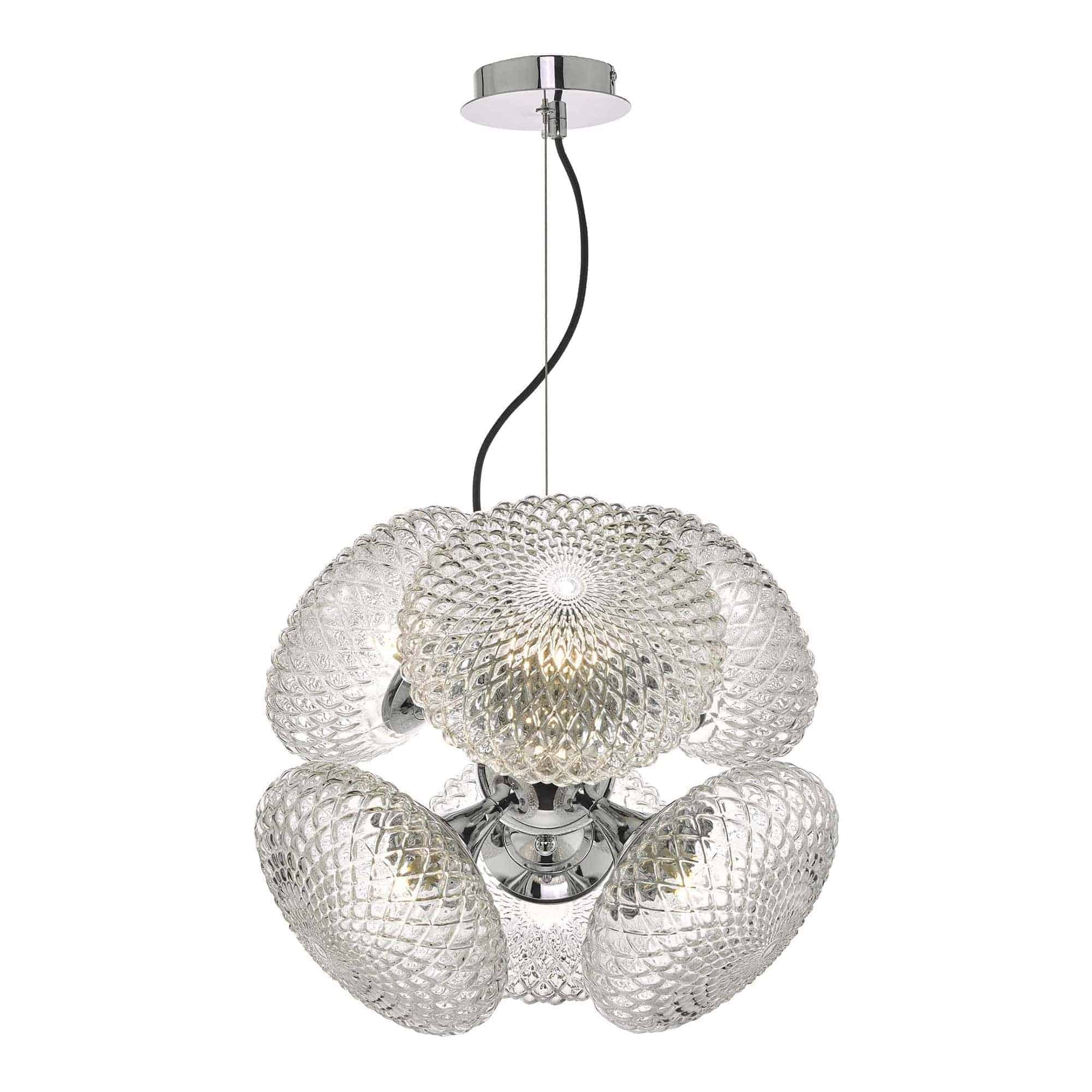 Dar BIB0650 Bibiana 6 Light Pendant Polished Chrome And Clear Glass