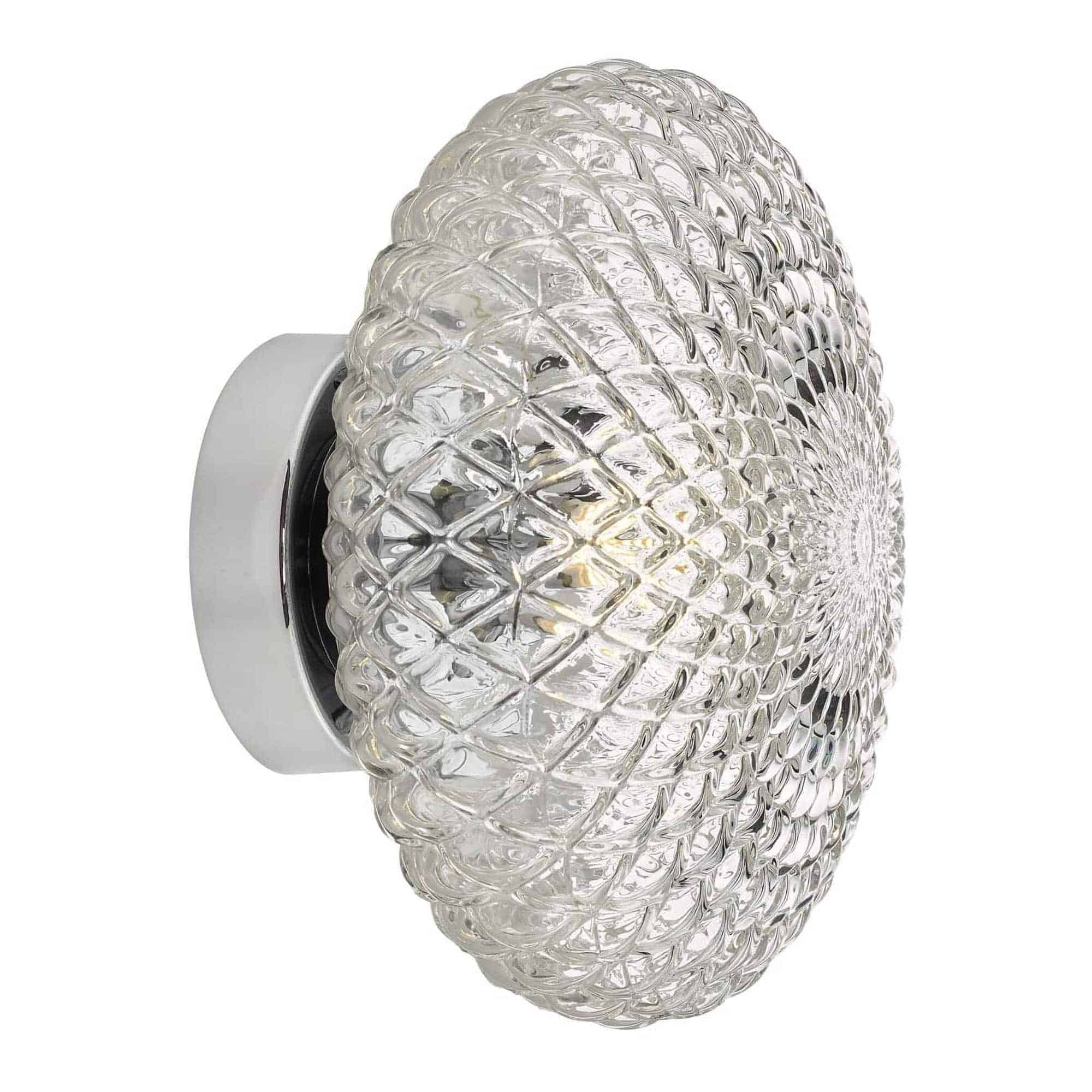Dar BIB0708 Bibiana 1 Light Wall Light Polished Chrome with Clear Shade Small