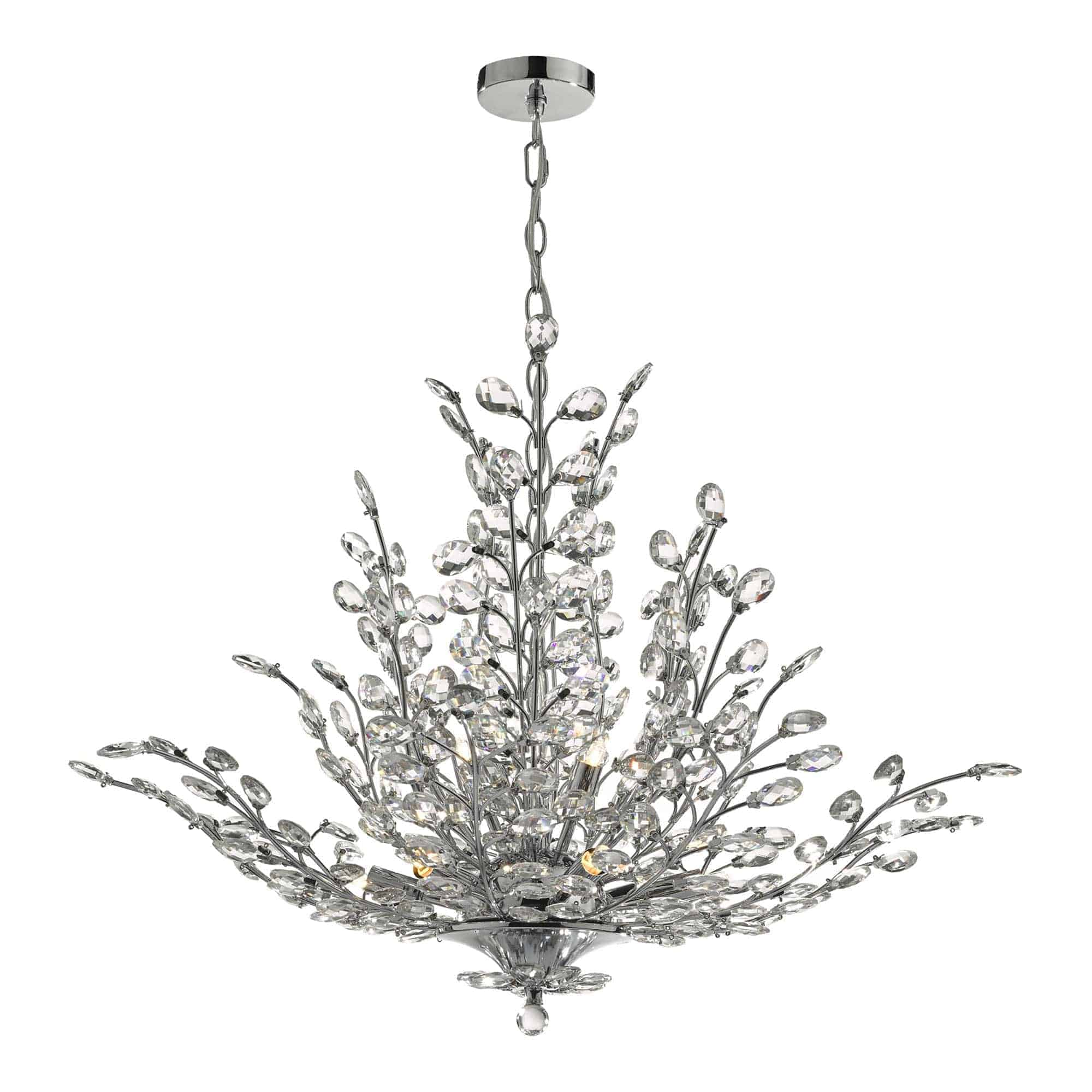 Dar COR1350 Cordelia 9 Light Pendant Polished Chrome & Crystal