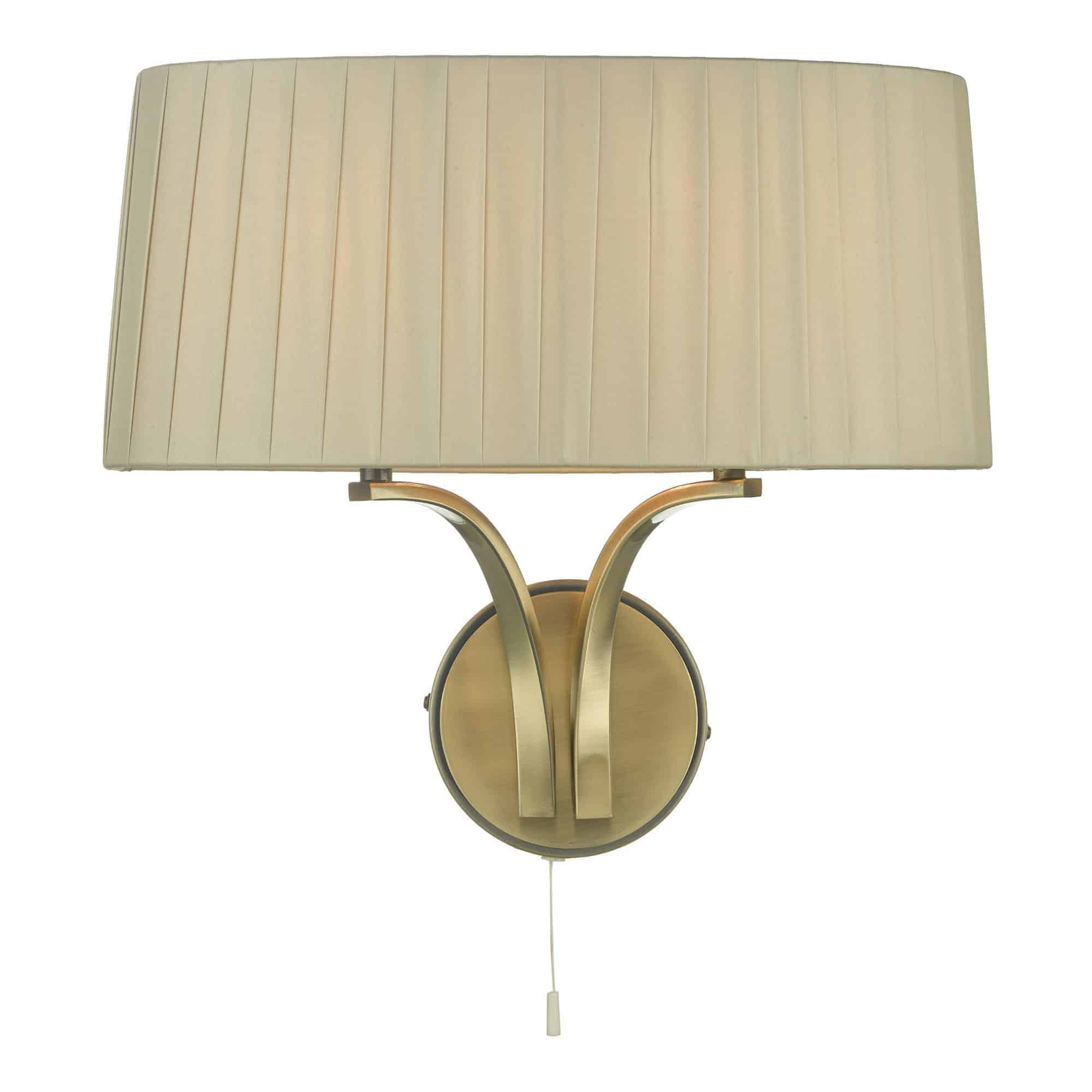 Dar CRI0929 Cristin 2 Light Wall Light Antique Brass With Taupe Shade