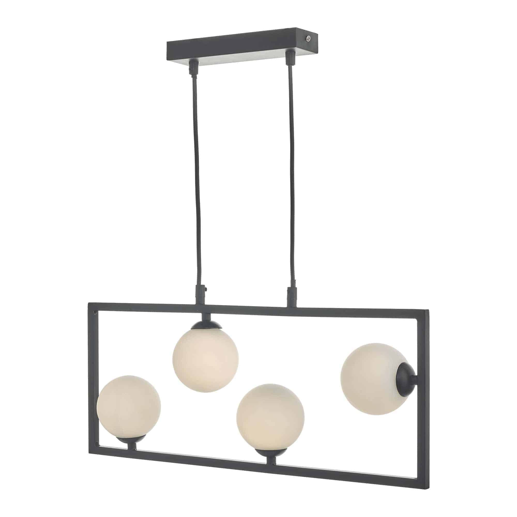 Dar ENS0422 Ensio 4 Light Pendant Matt Black & Opal Glass