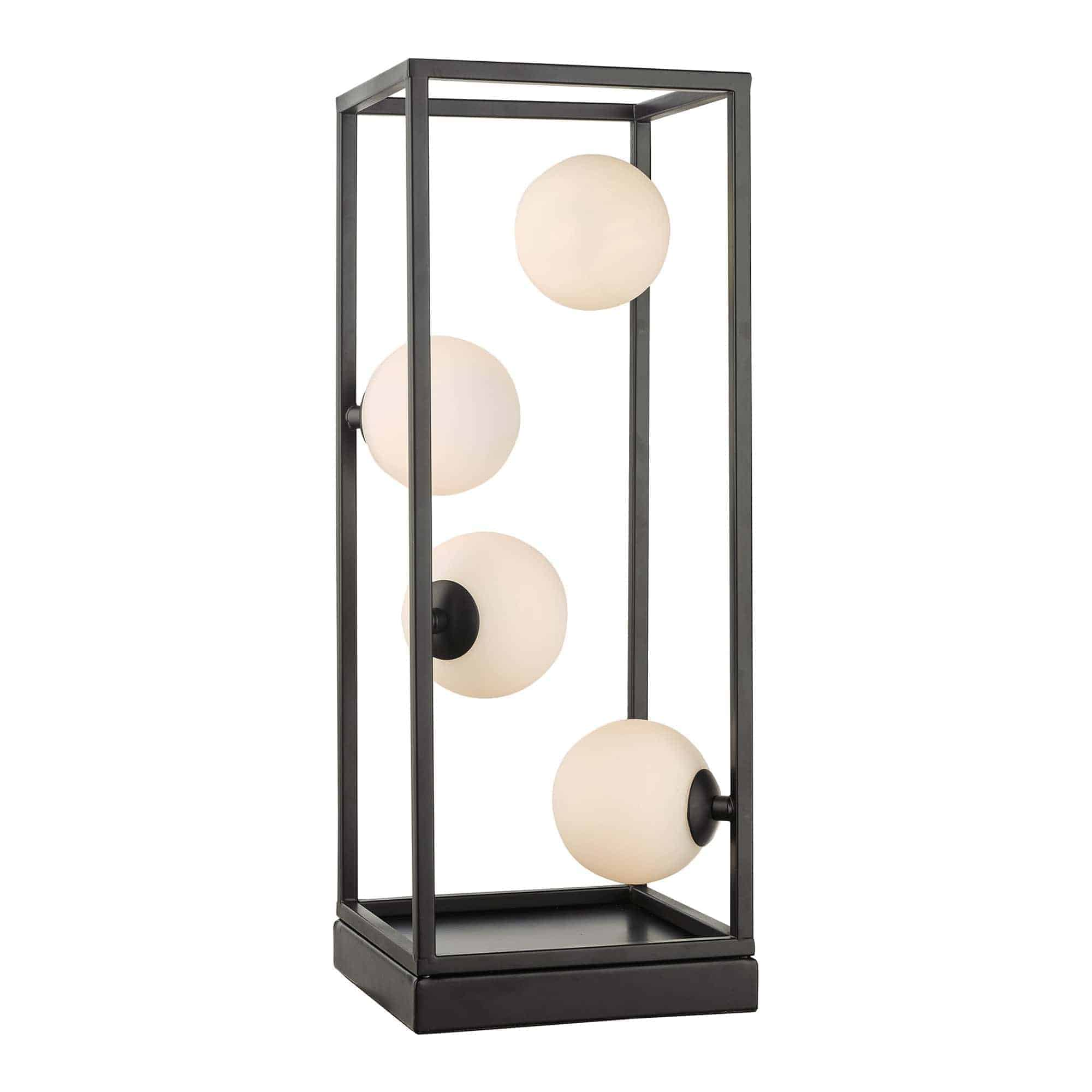 Dar ENS4222 Ensio 4lt Table Lamp Matt Black & Opal Glass