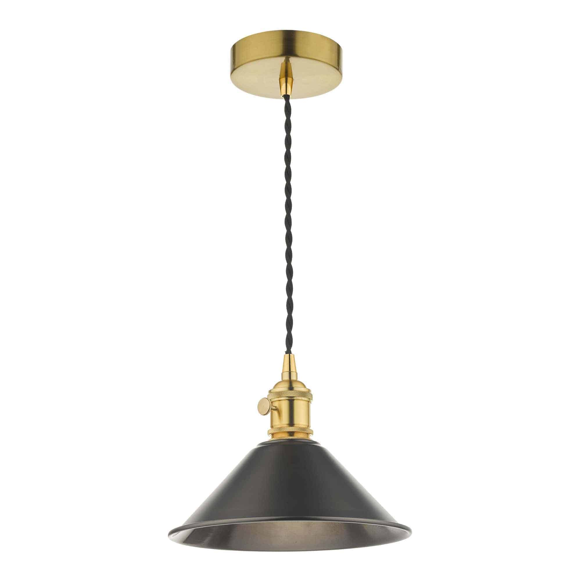 Dar HAD0140-02 Hadano 1 Light Pendant Natural Brass With Antique Pewter Shade
