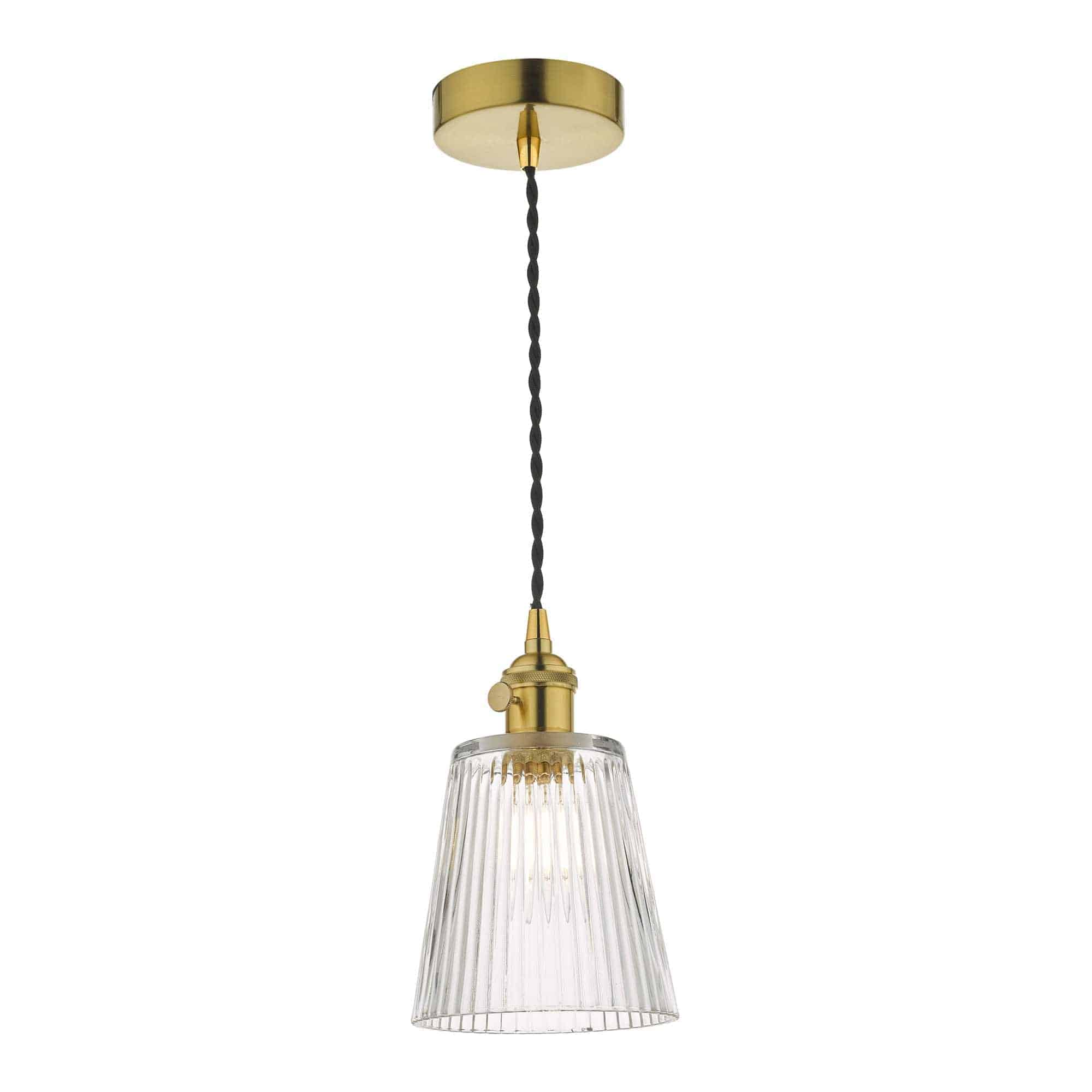 Dar HAD0140-05 Hadano 1 Light Pendant Natural Brass With Ribbed Glass Shade