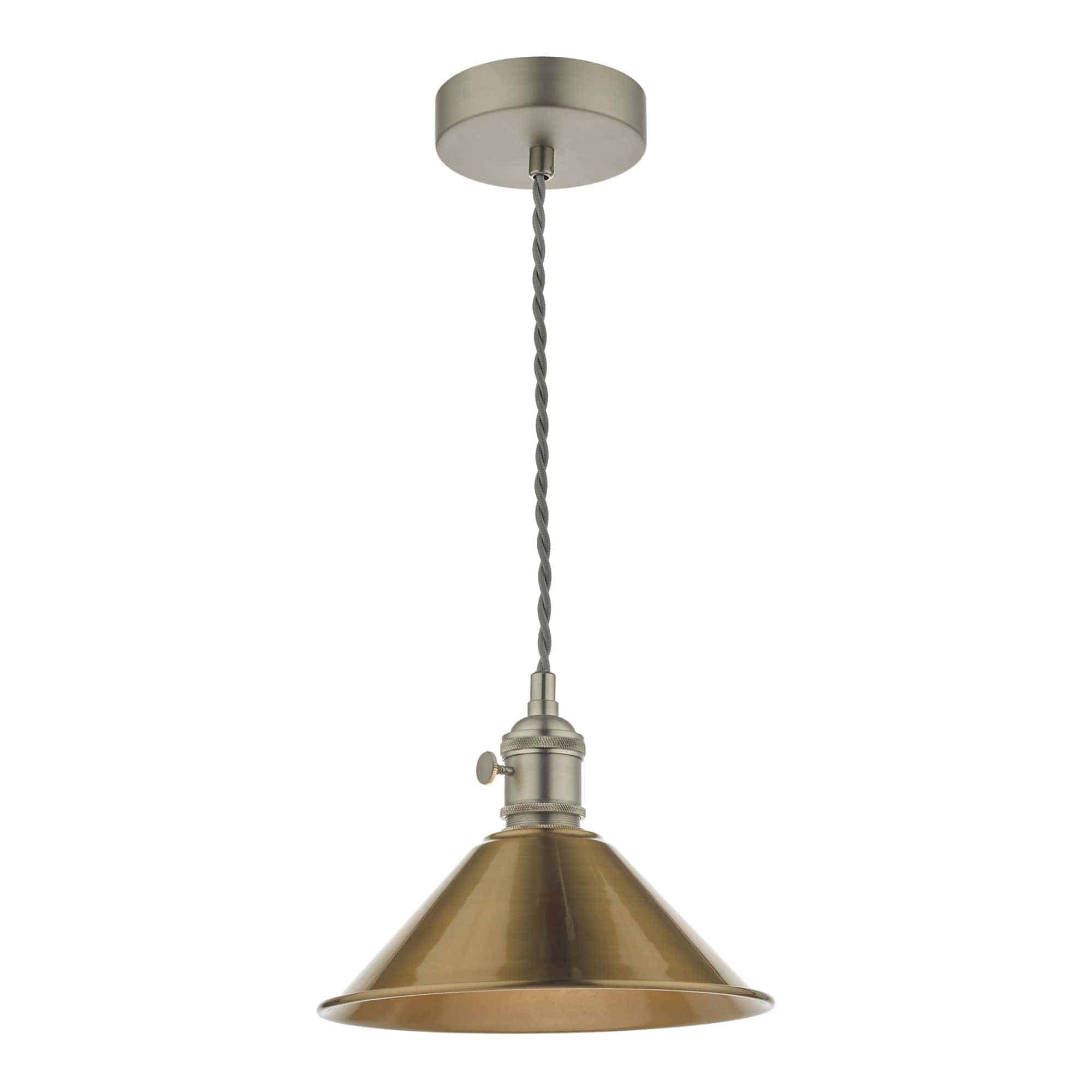 Dar HAD0161-01 Hadano 1 Light Pendant Antique Chrome With Aged Brass Shade