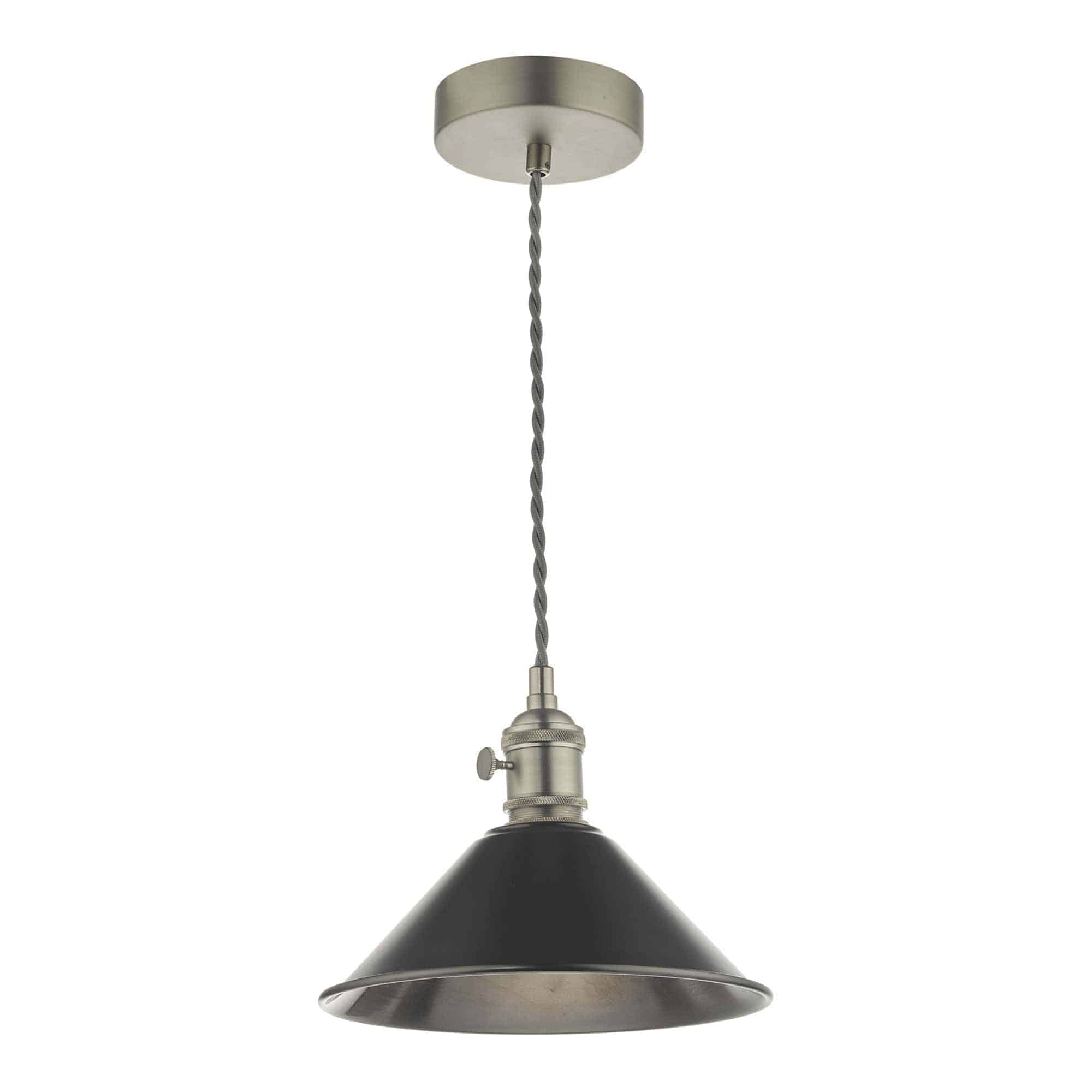Dar HAD0161-02 Hadano 1 Light Pendant Antique Chrome With Antique Pewter Shade