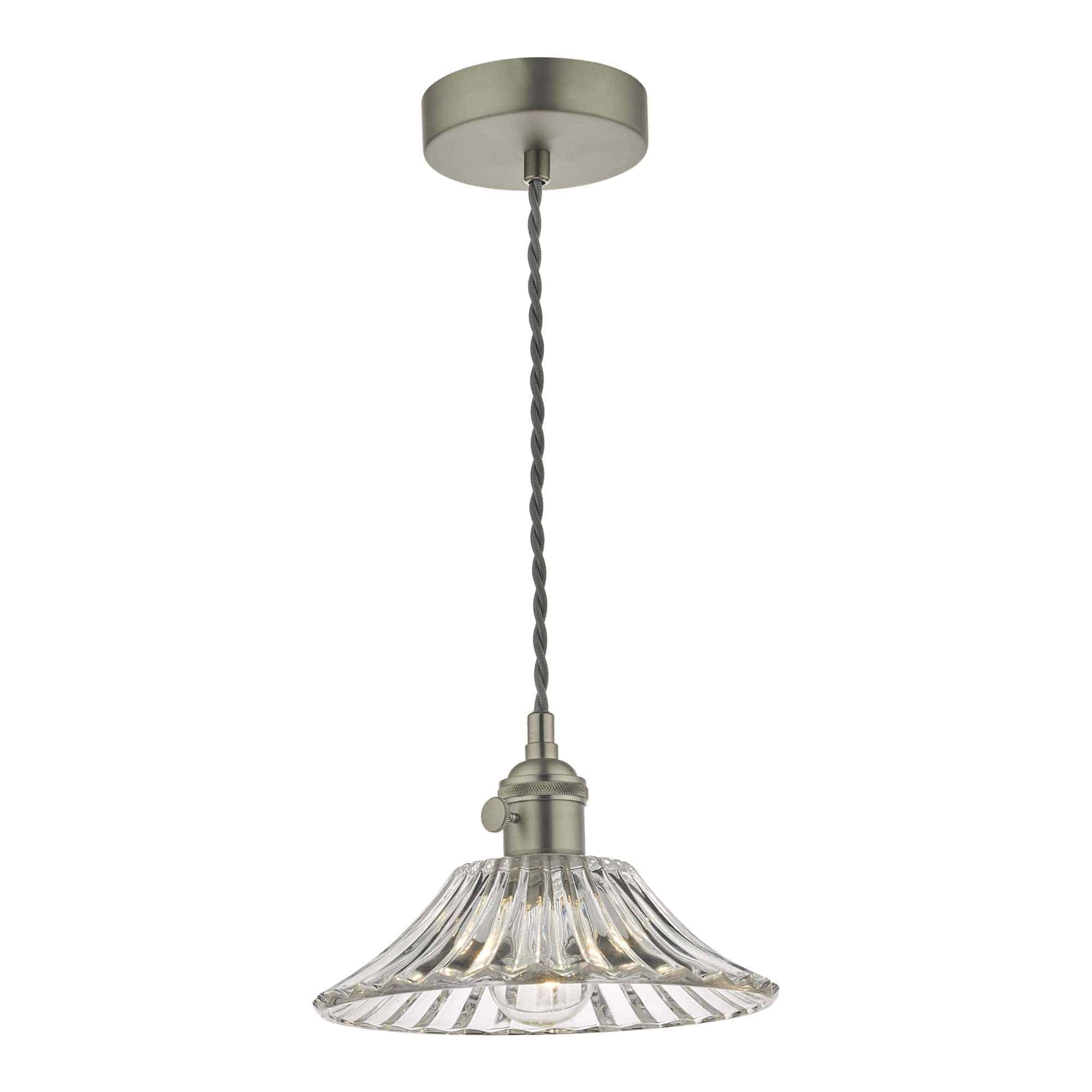Dar HAD0161-04 Hadano 1 Light Pendant Antique Chrome With Flared Glass Shade