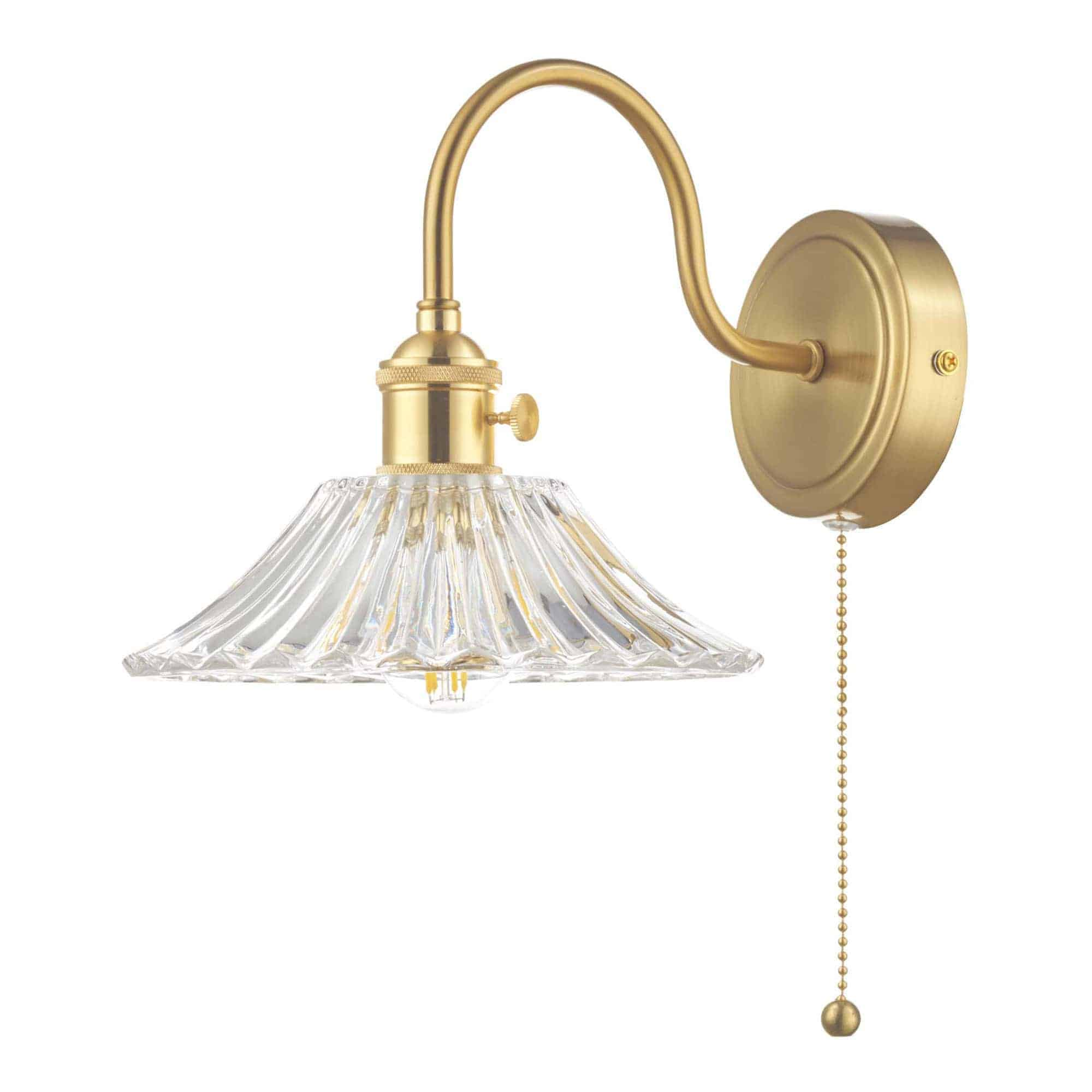 Dar HAD0740-04 Hadano 1 Light Wall Light Brass With Flared Glass Shade