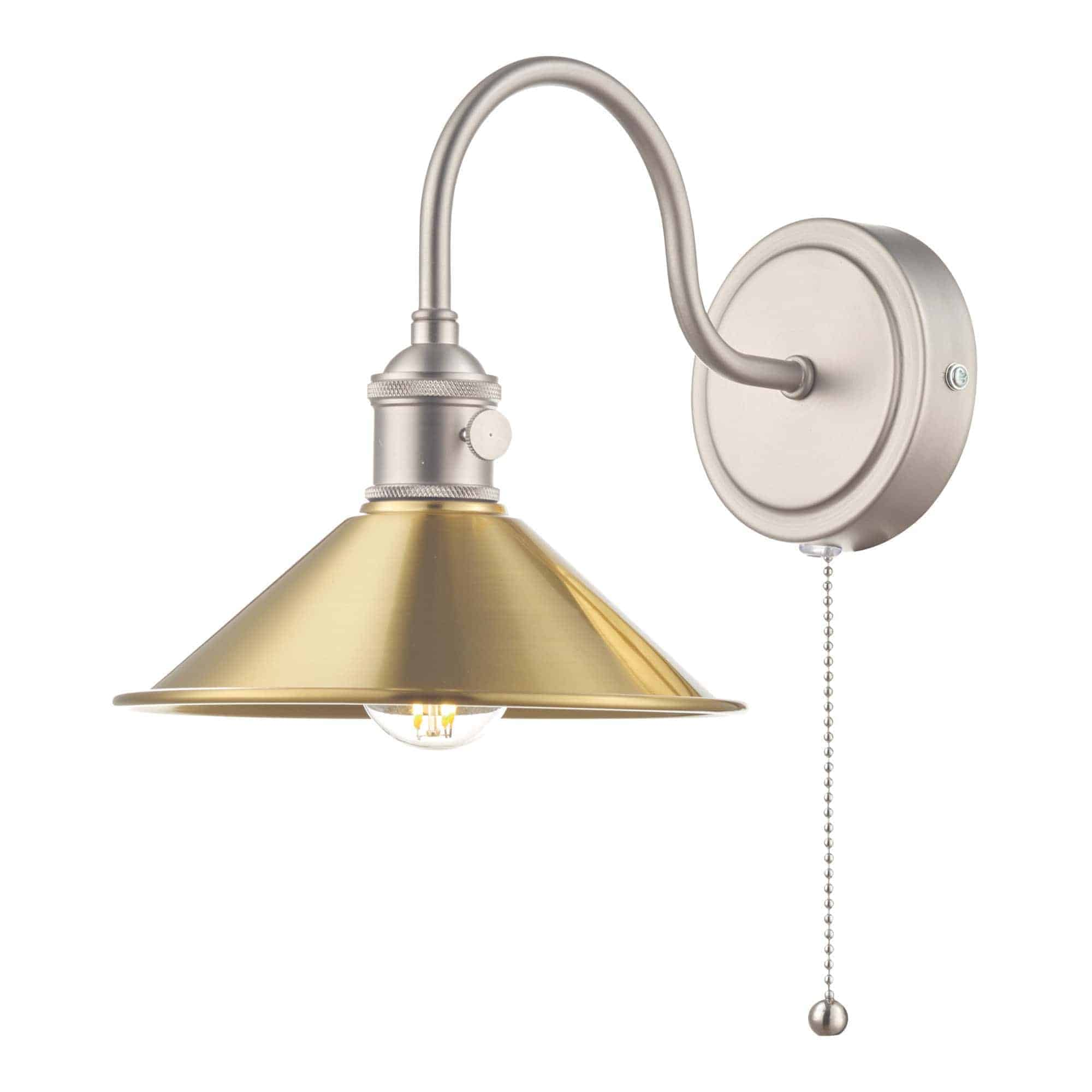 Dar HAD0761-01 Hadano 1 Light Wall Light Antique Chrome With Aged Brass Shade