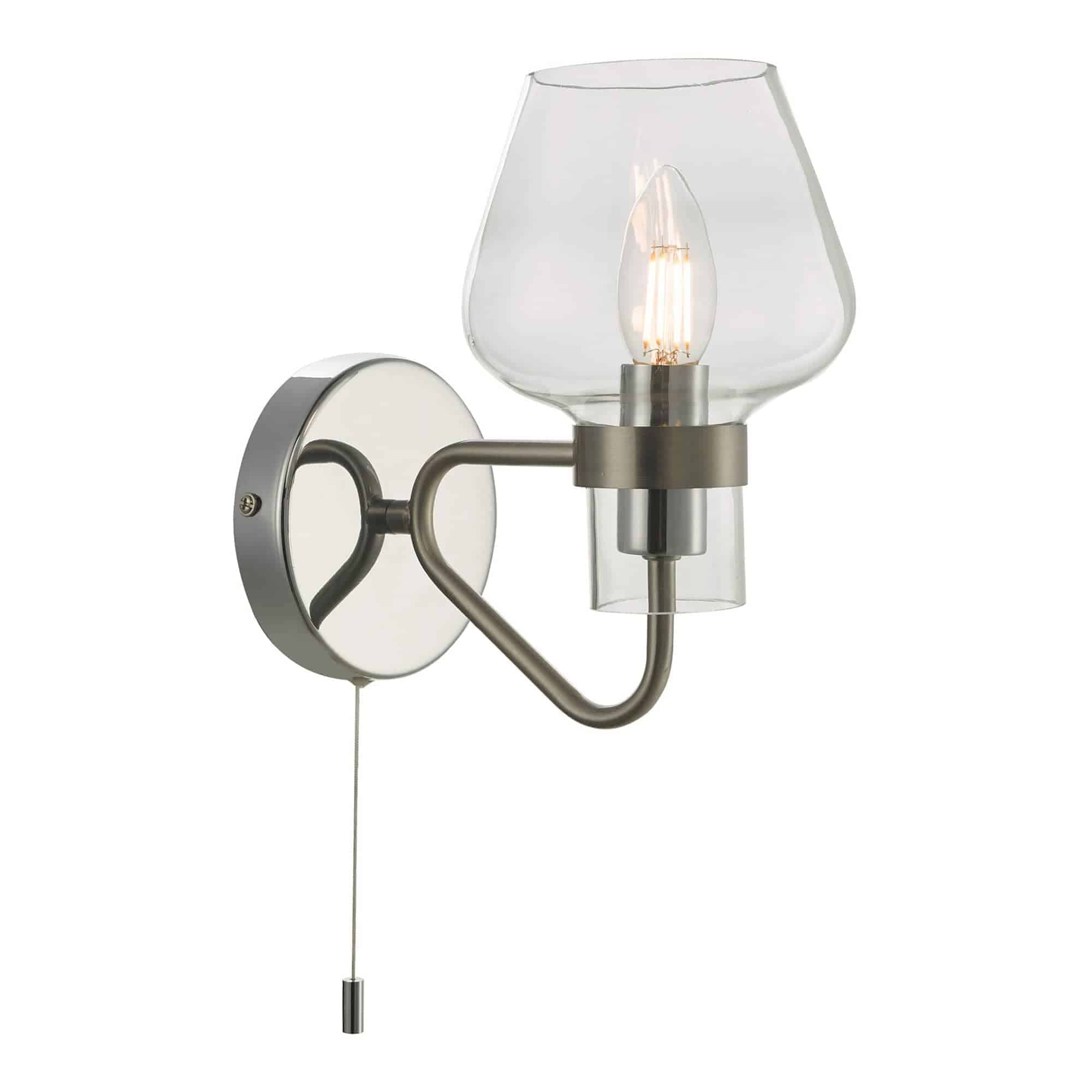 Dar KET0746 Keta 1 Light Wall Light Satin Chrome & Polished Chrome