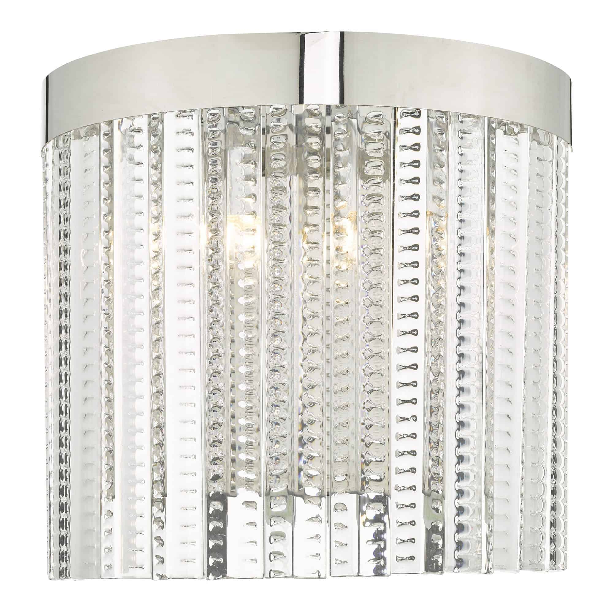 Dar LOR0908 Lorant 2 Light Wall Light Clear & Polished Chrome