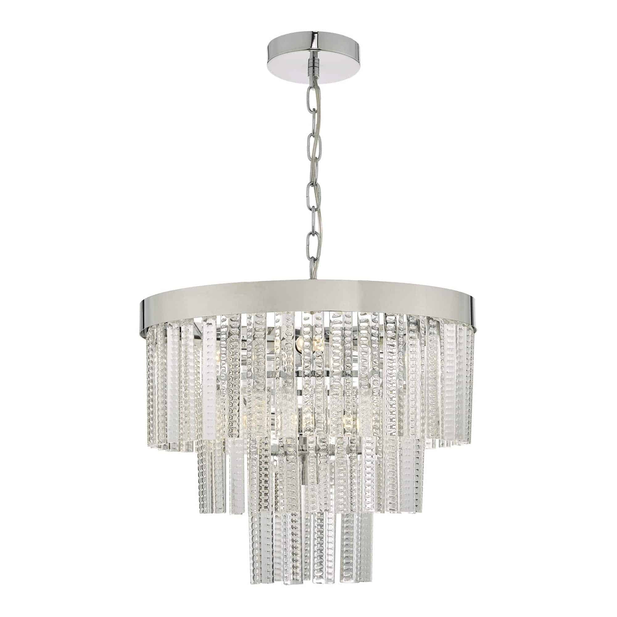 Dar LOR3408 Lorant 7 Light Tier Pendant Clear & Polished Chrome