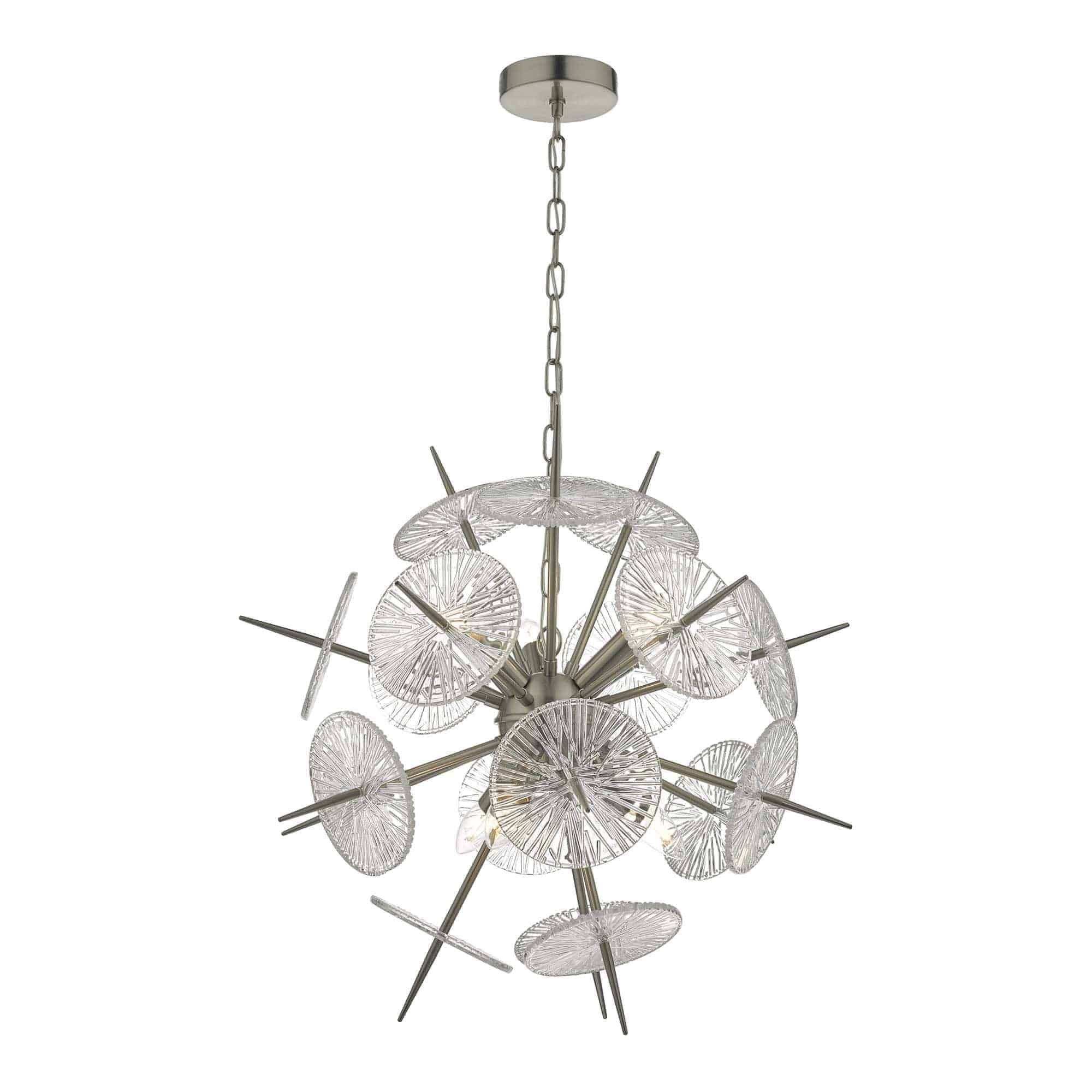 Dar NAB0646 Nabila 6 Light Pendant Satin Nickel & Glass