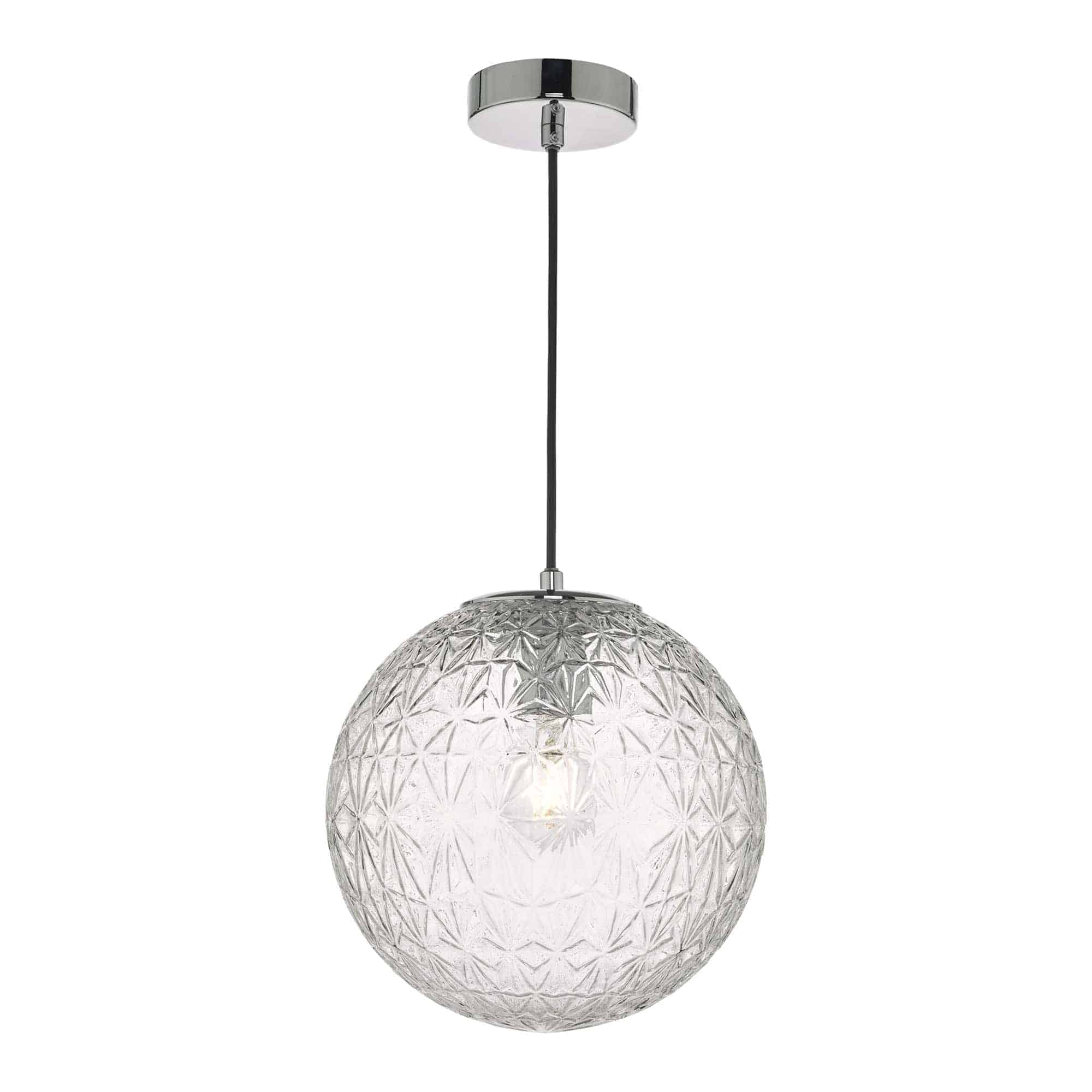 Dar OSS0108 Ossian 1 Light Pendant Polished Chrome And Clear Glass Small