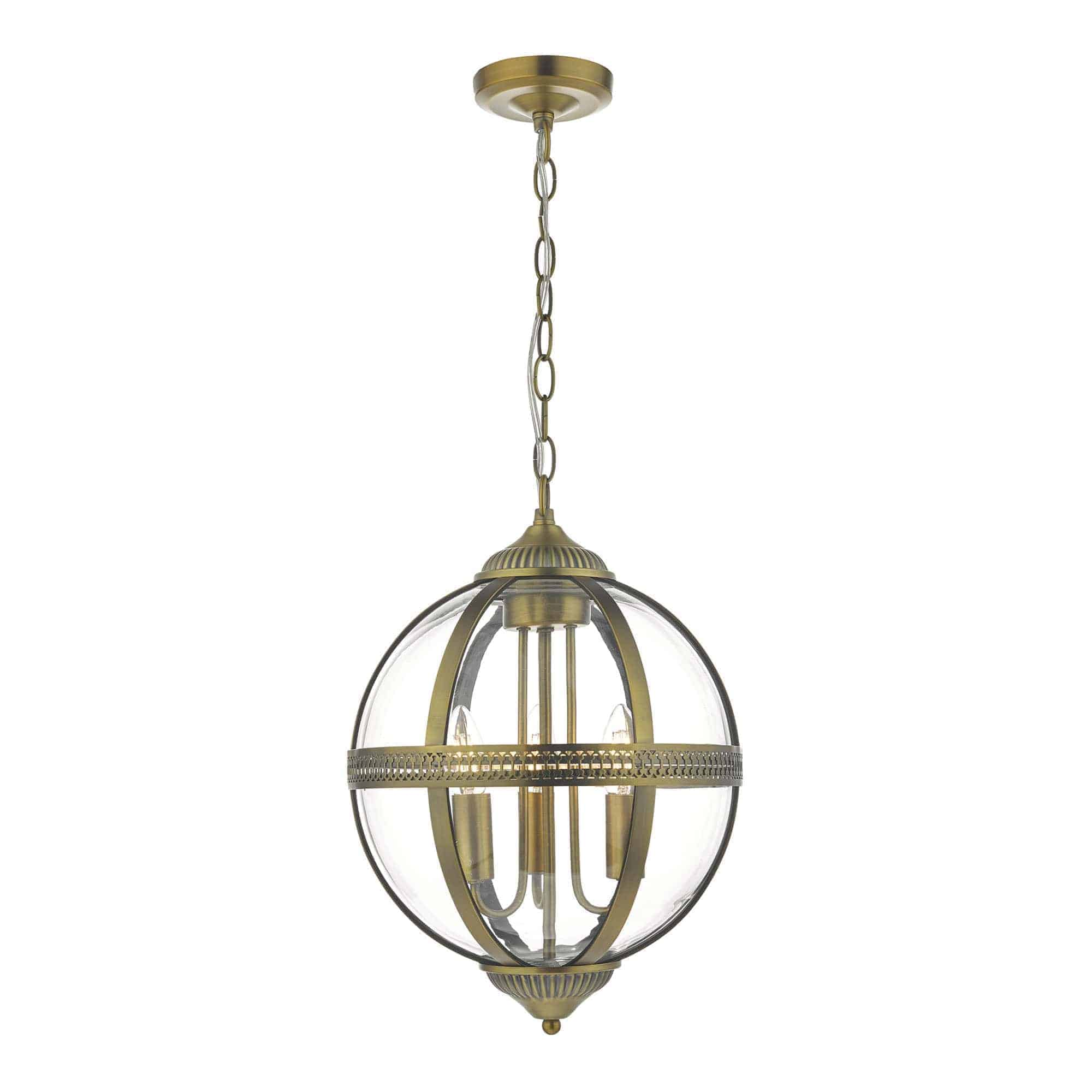 Dar VAN0375 Vanessa 3 Light Pendant Antique Brass And Clear