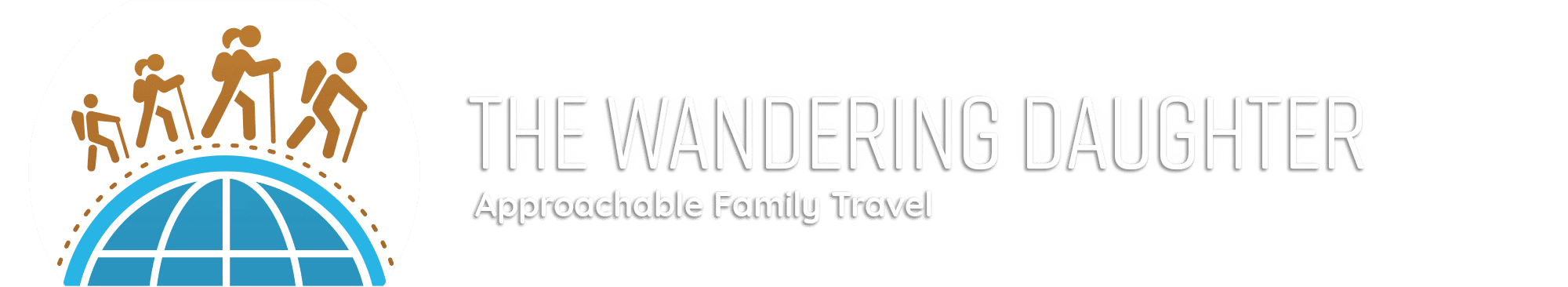 Header Image with logo - The Wandering Daughter, Approachable Family Travel - Logo is family of four hiking around the world