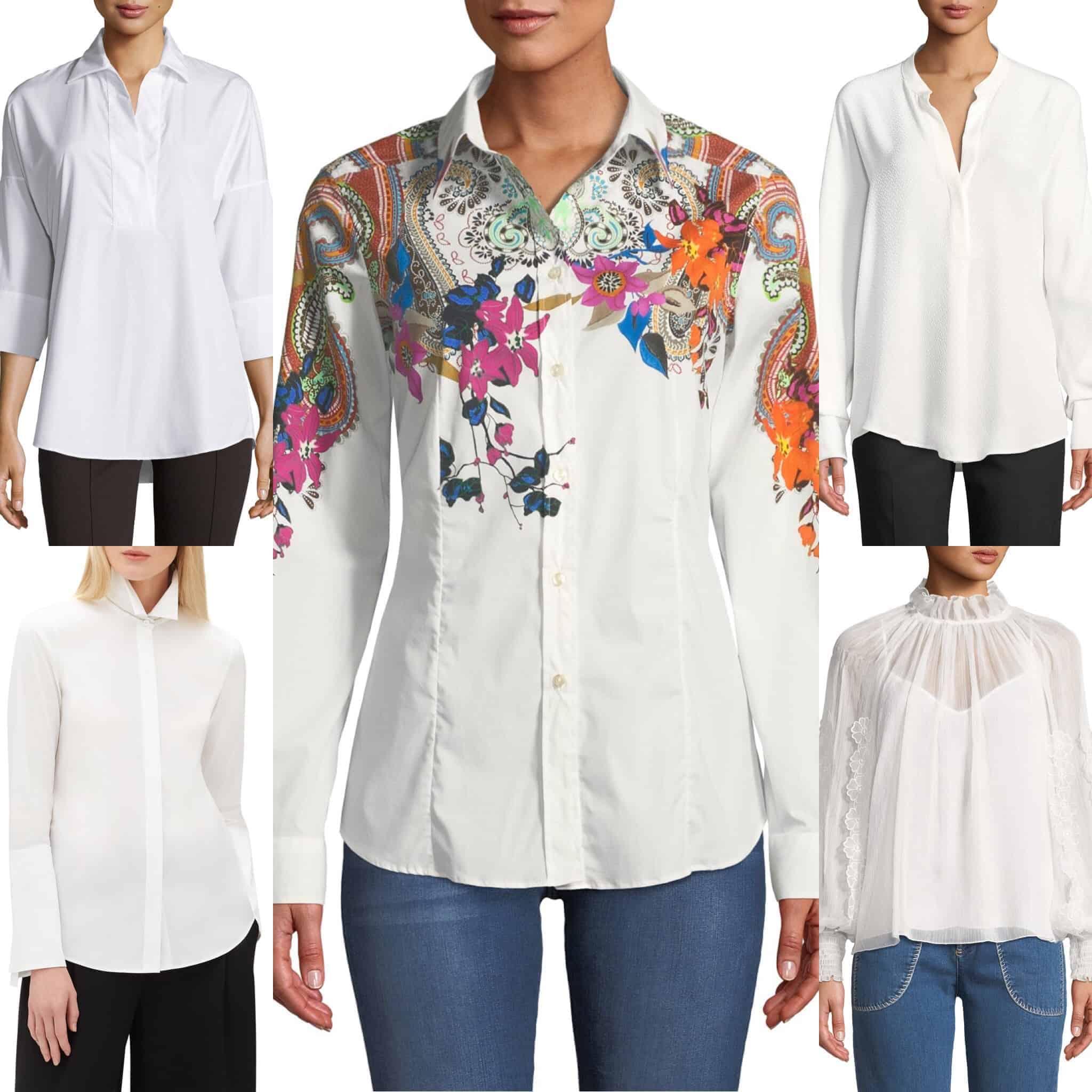 five panel display of models wearing women's white shirts