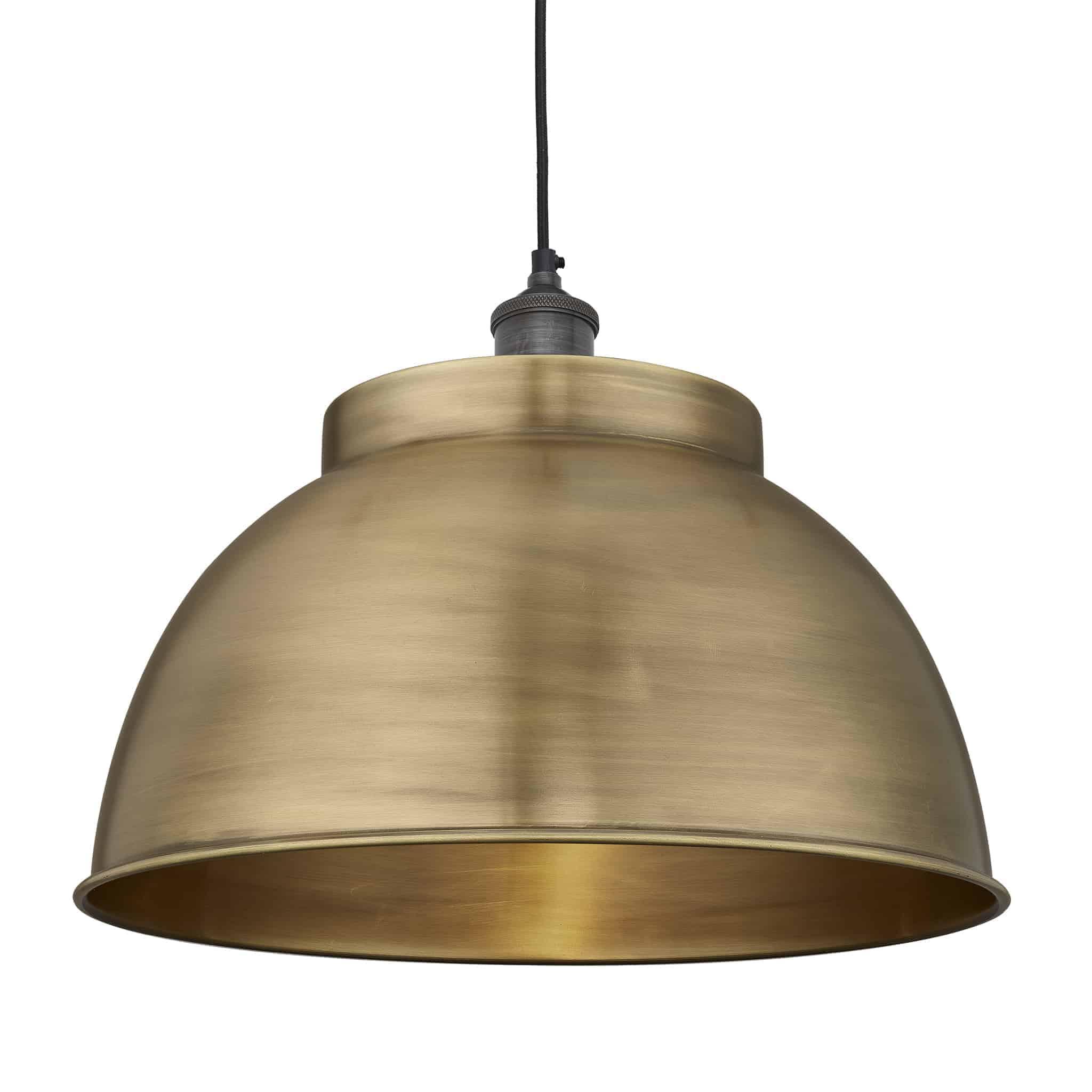 Industville Brooklyn Dome Pendant 17 Inch Brass