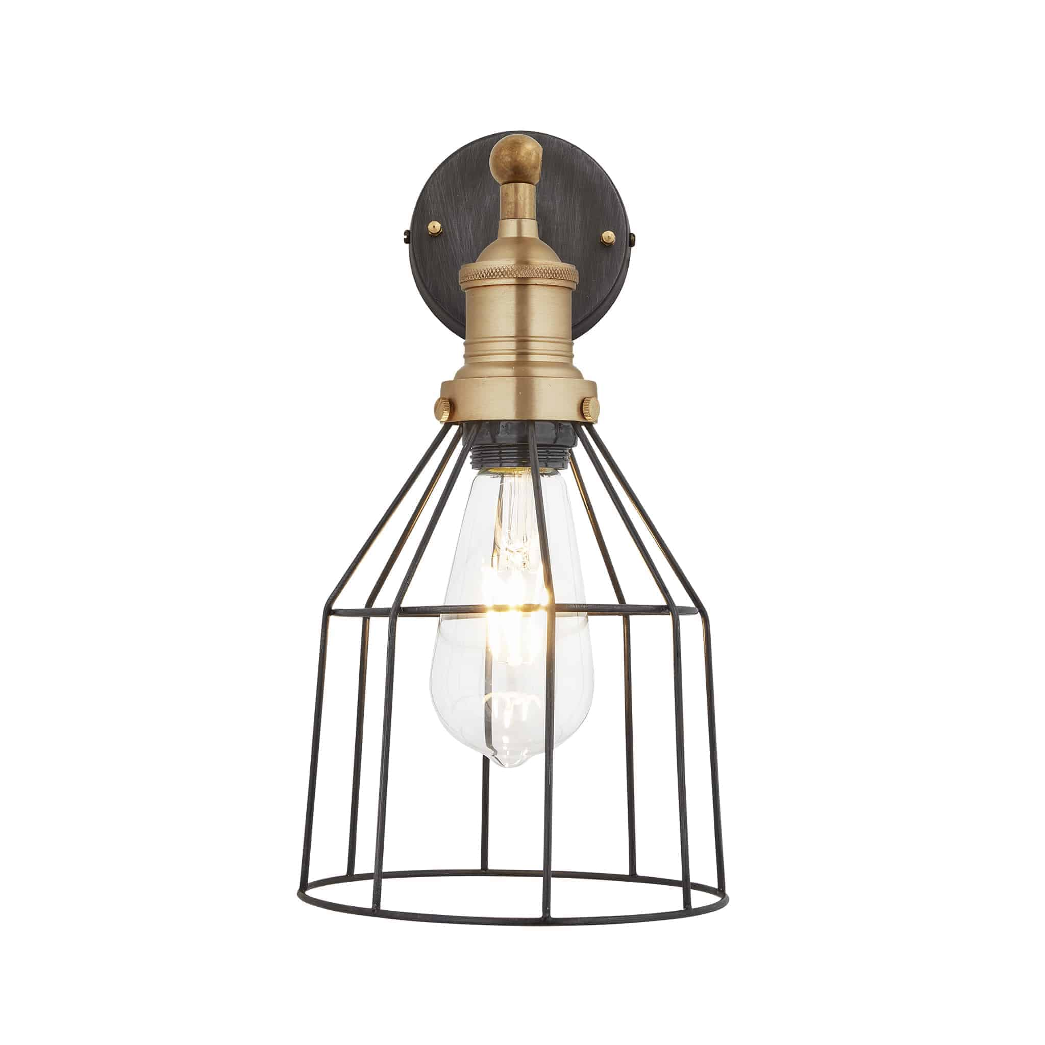 Industville BR-WCWL6-P-CN-BH Wire Cage Wall Light