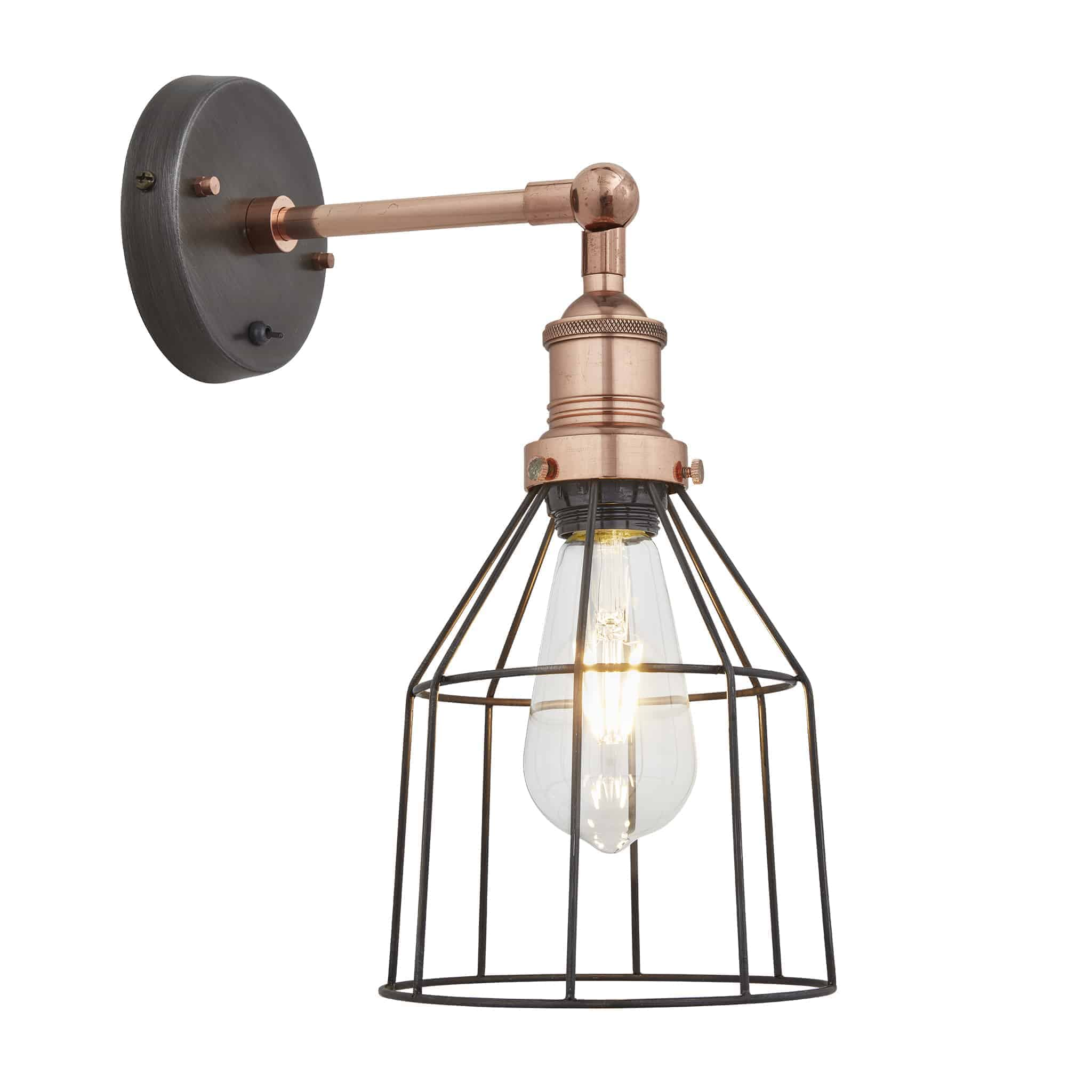 Industville BR-WCWL6-P-CN-CH Wire Cage Wall Light