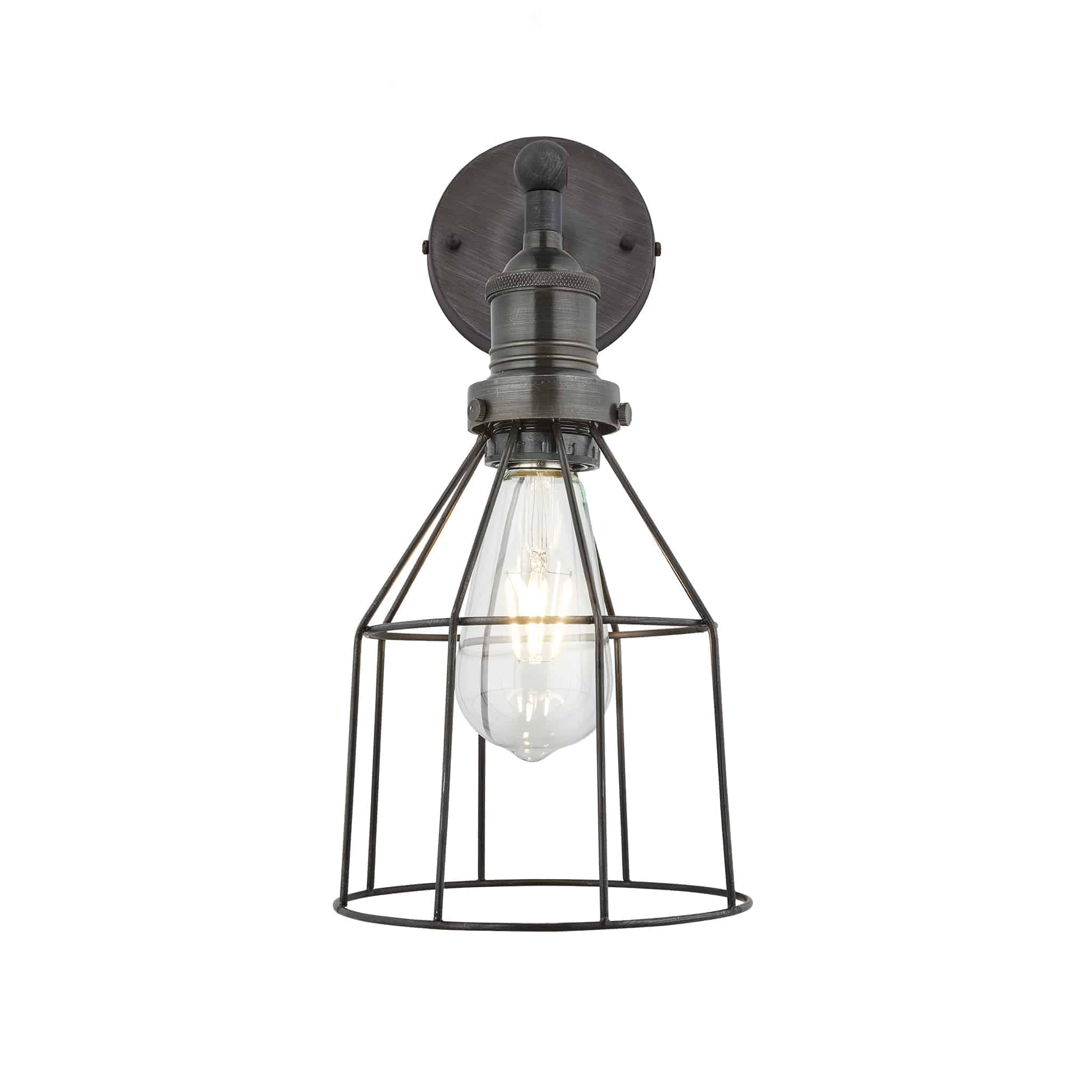 Industville Brooklyn Wire Cage Wall Light - 6 Inch - Pewter - Cone - Pewter Holder