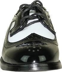 Boys Black and White Wing Tip Tuxedo Shoe