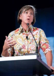 When Mary Meeker talks, people do listen. But a shirt with this much color and pattern can be visually distracting. Even if the colors are flattering, it's not an ideal piece of clothing to wear when addressing a crowd.