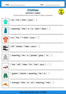 ESL Worksheets About Clothes
